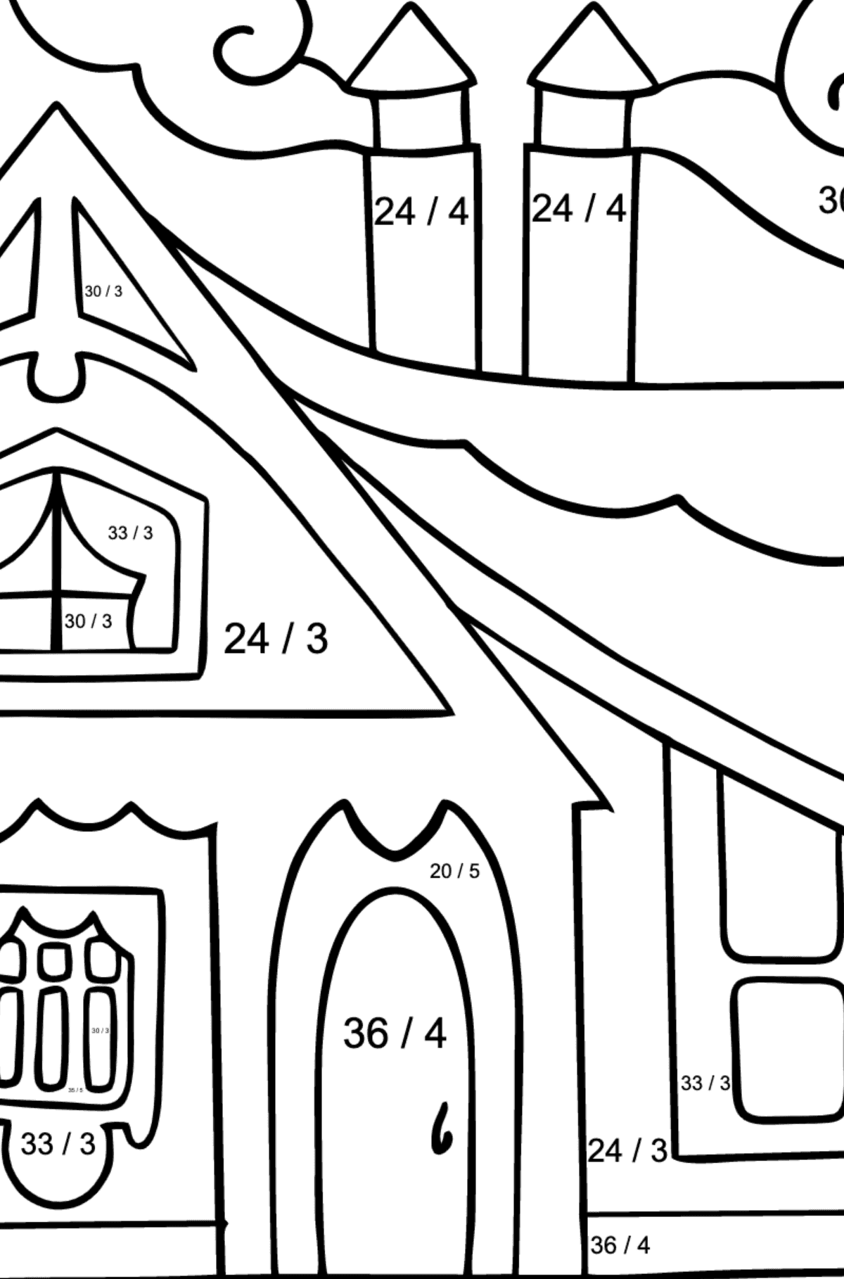 Coloring Page - A Tiny House - Math Coloring - Division for Children