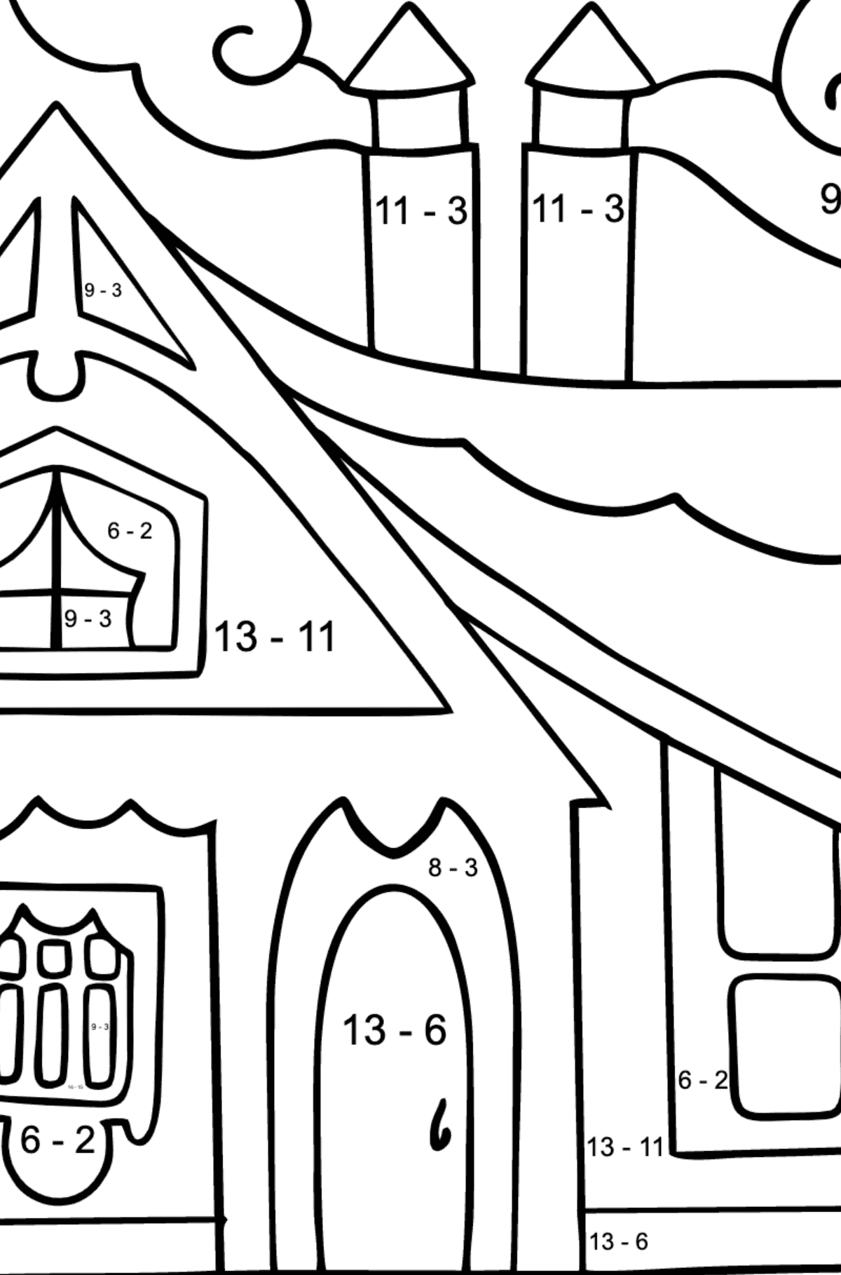 Coloring Page - A Tiny House - Math Coloring - Subtraction for Children