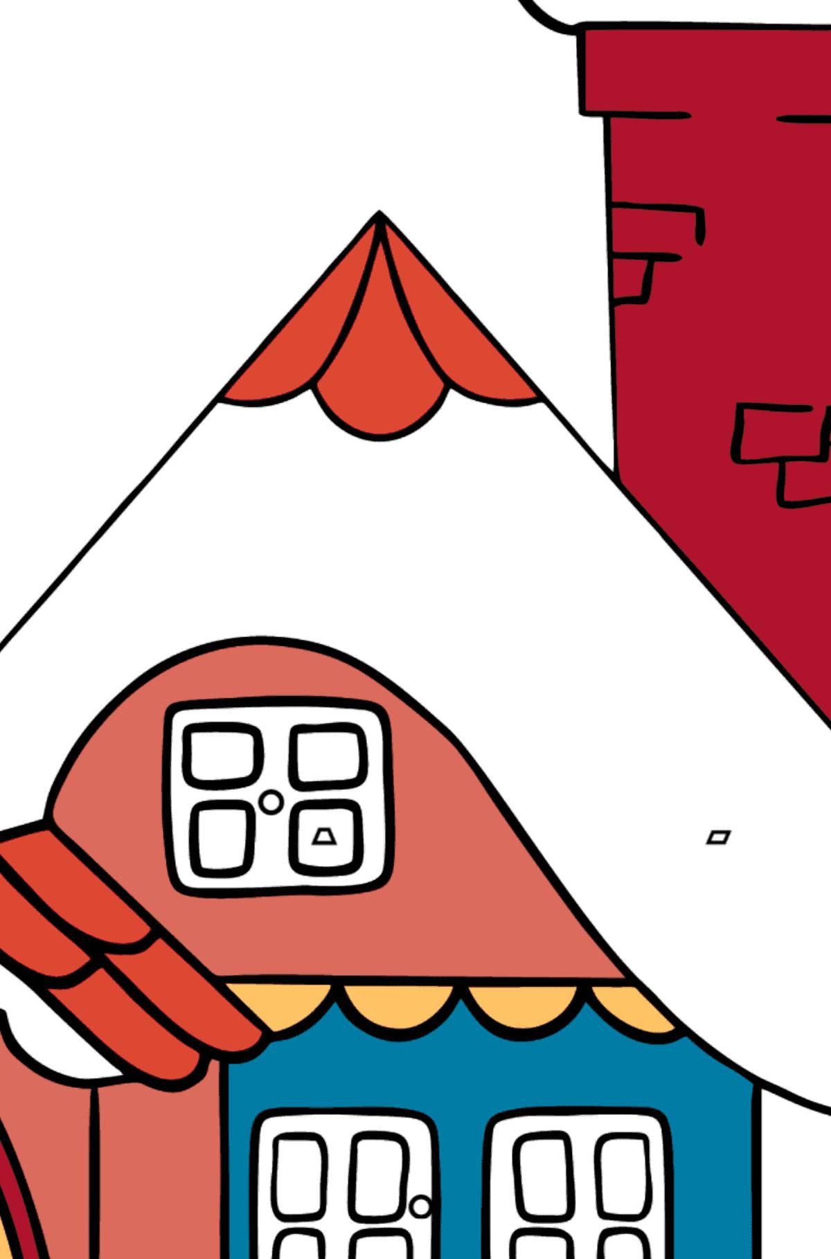 Раскраска домик дивный - Раскраска по Геометрическим Фигурам для Детей