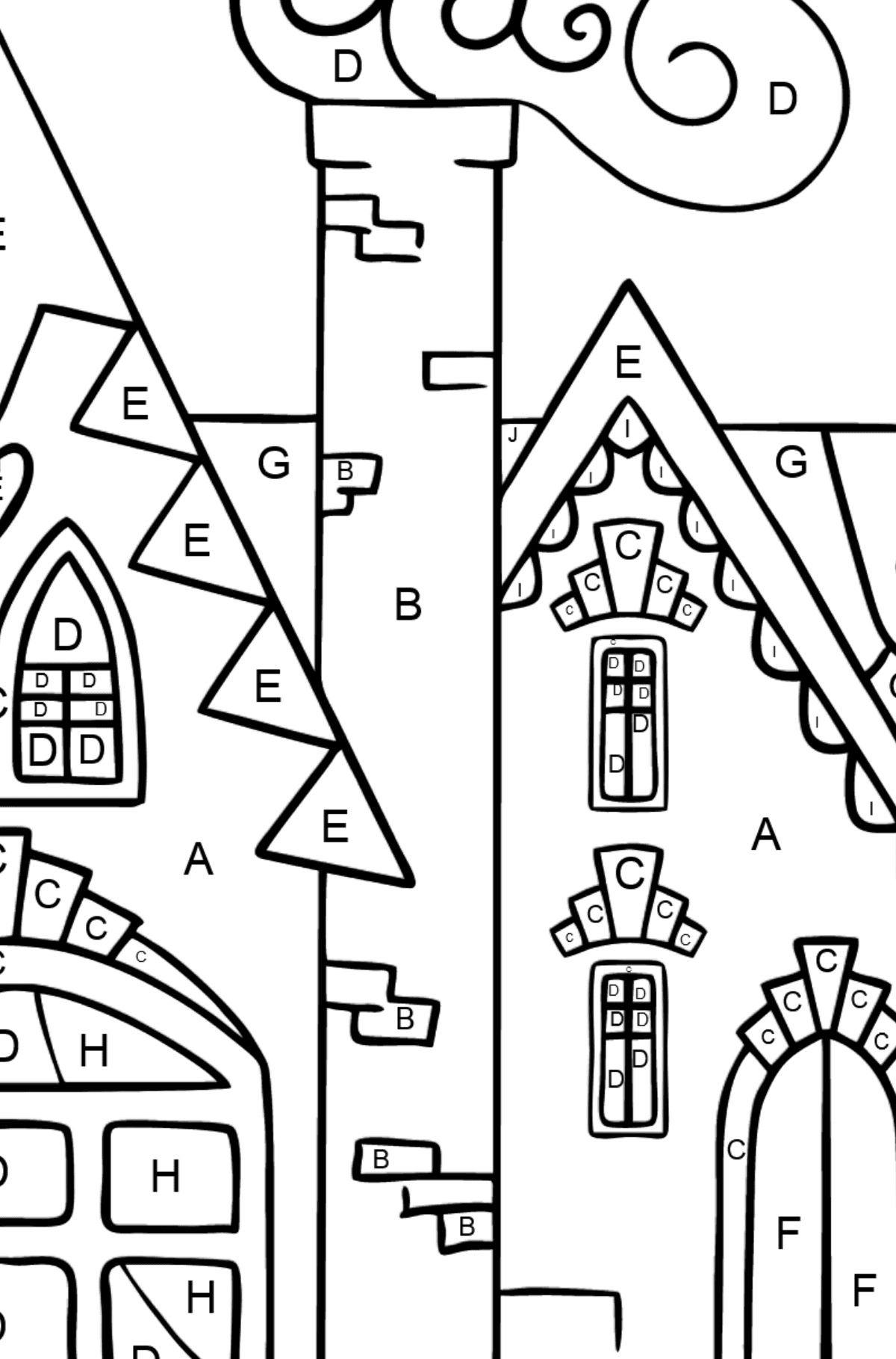 Complex Coloring Page - A Charming House - Coloring by Letters for Kids