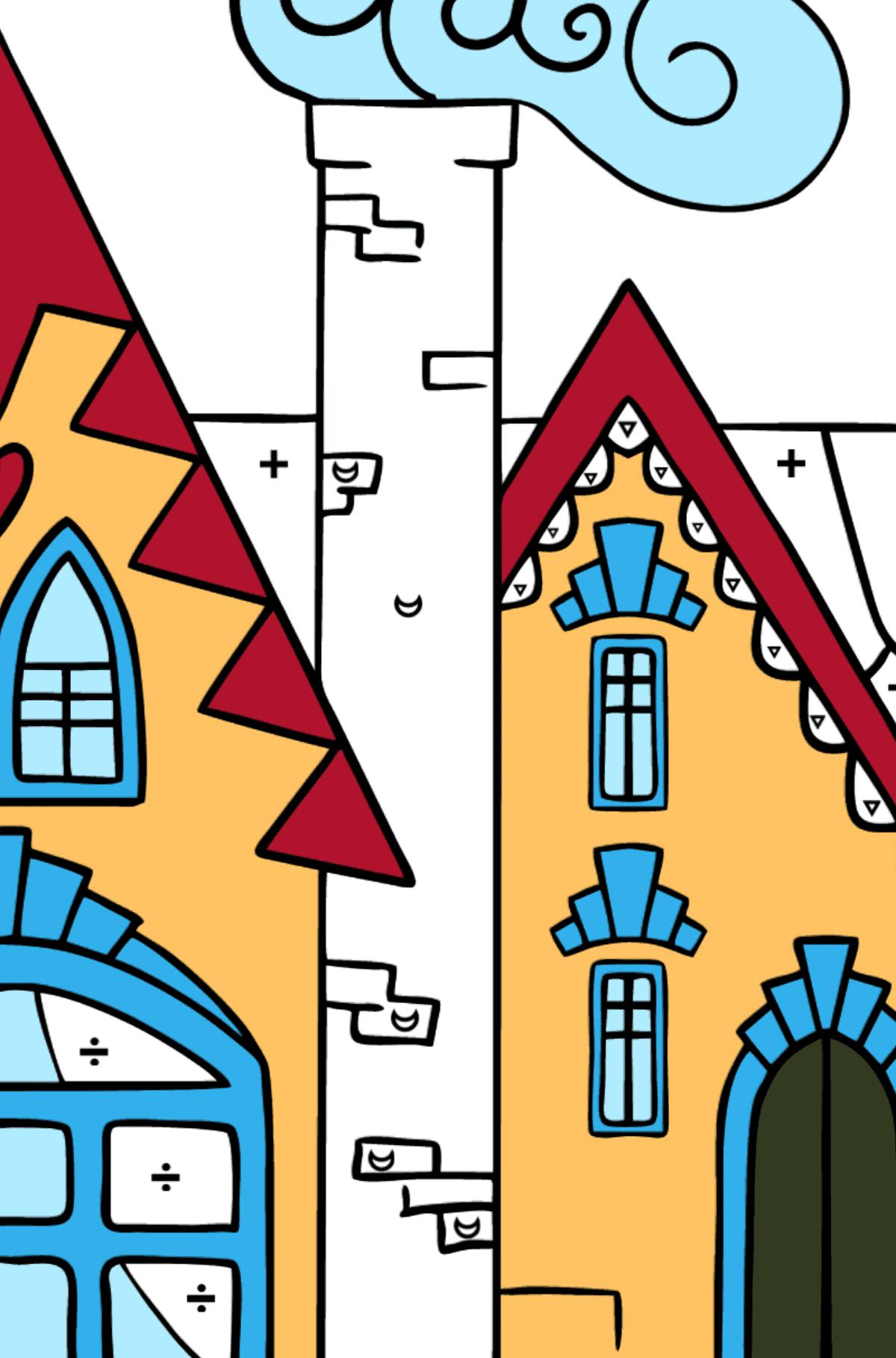 Сложная раскраска чарующий домик - Раскраска по Символам для Детей