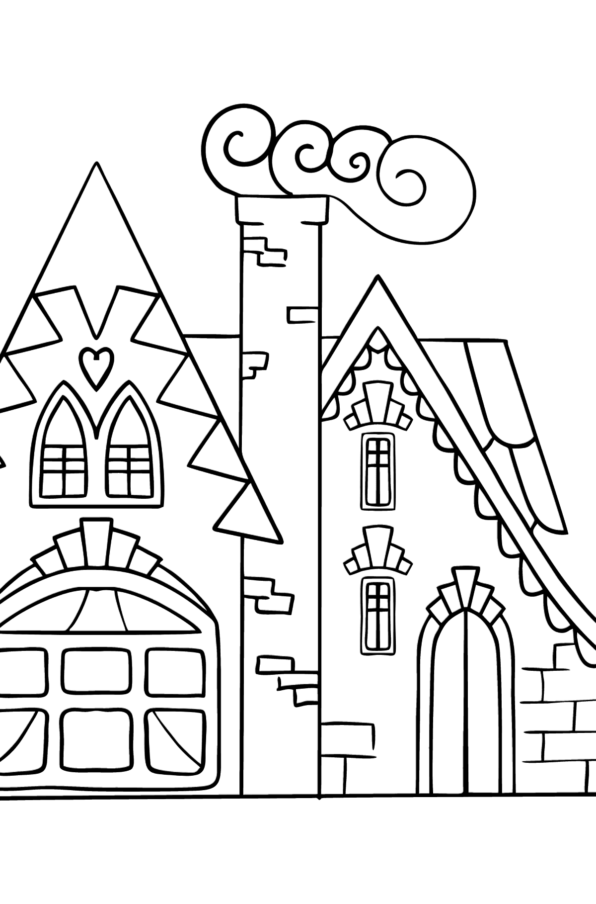 Complex Coloring Page - A Charming House - Coloring Pages for Kids