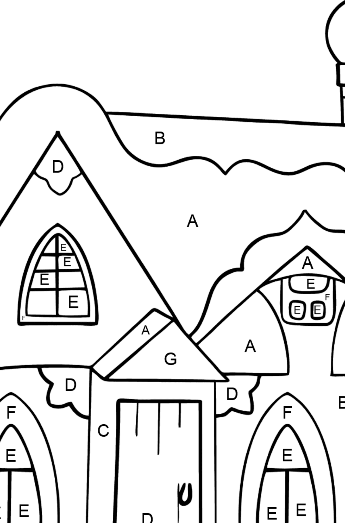 Complex Coloring Page - A Fairytale House - Coloring by Letters for Kids
