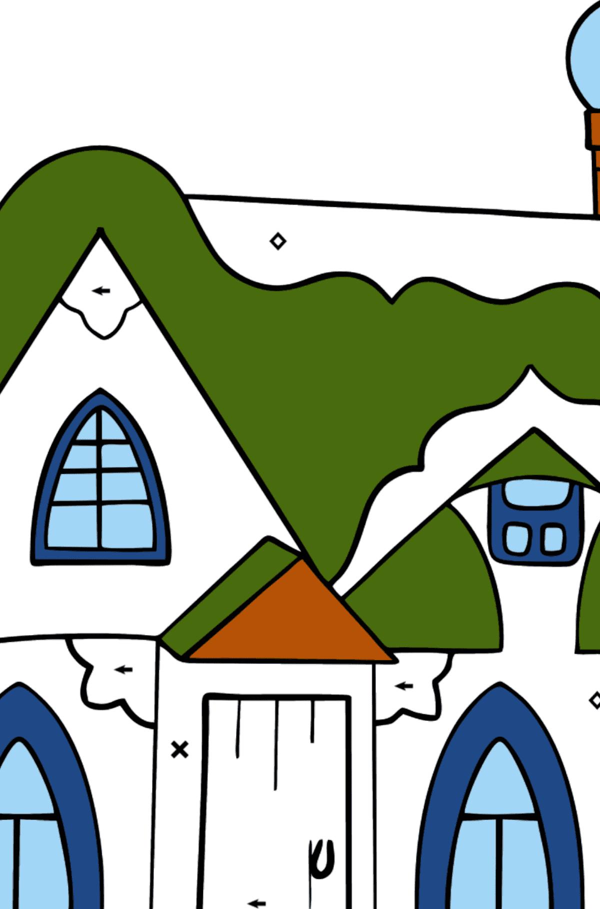 Сложная раскраска сказочный домик - Раскраска по Символам и Геометрическим Фигурам для Детей
