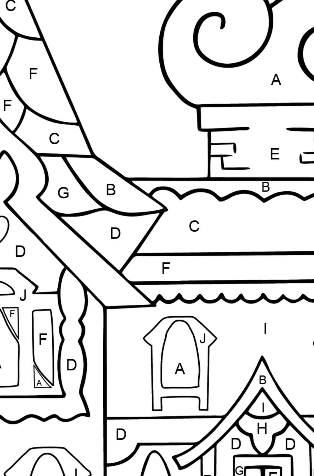 Complex Coloring Page - A House - A Kingdom of Storytellers - Coloring by Letters for Kids