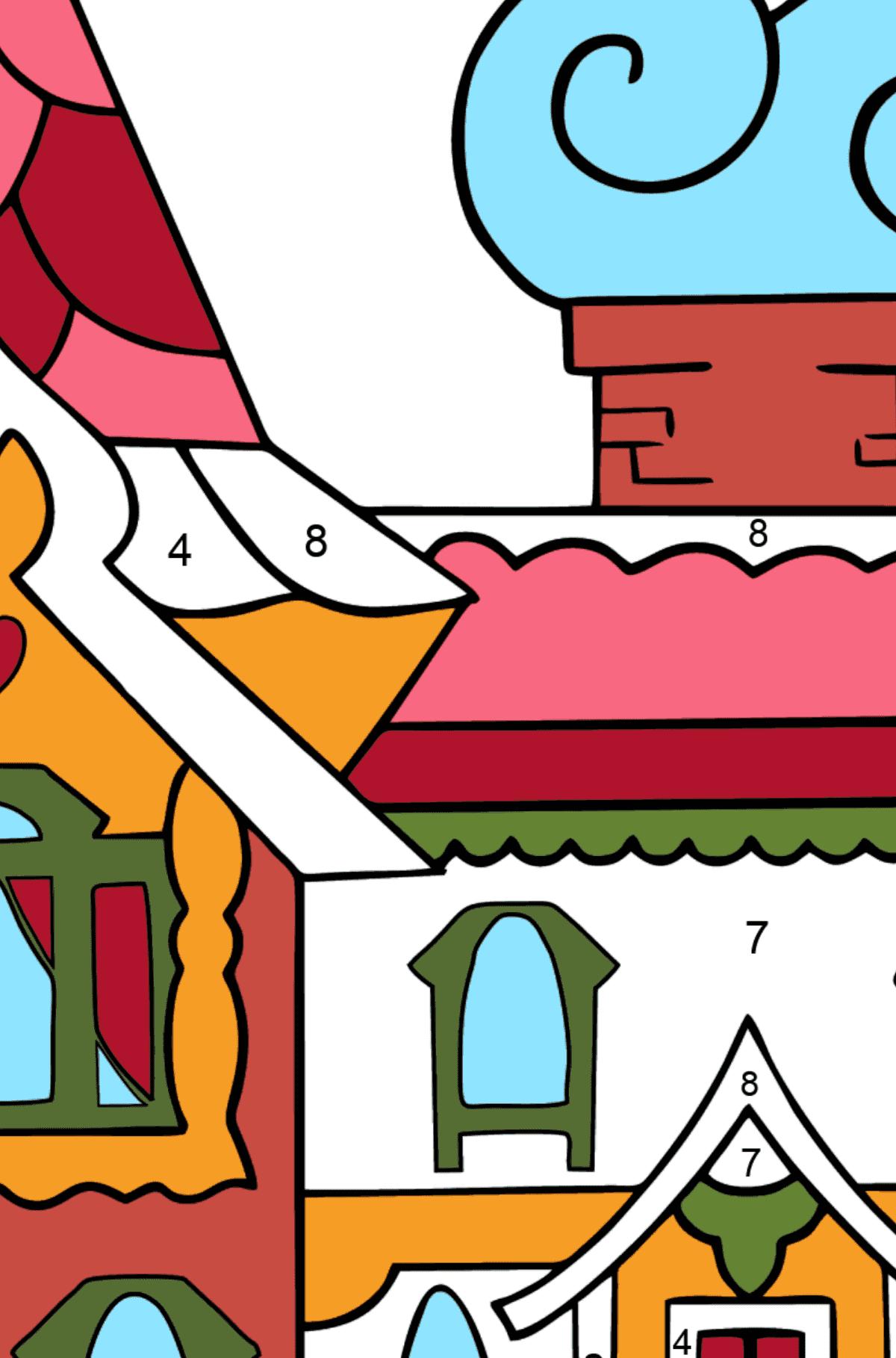 Сложная раскраска дом - королевство сказочников - Раскраска по Номерам для Детей