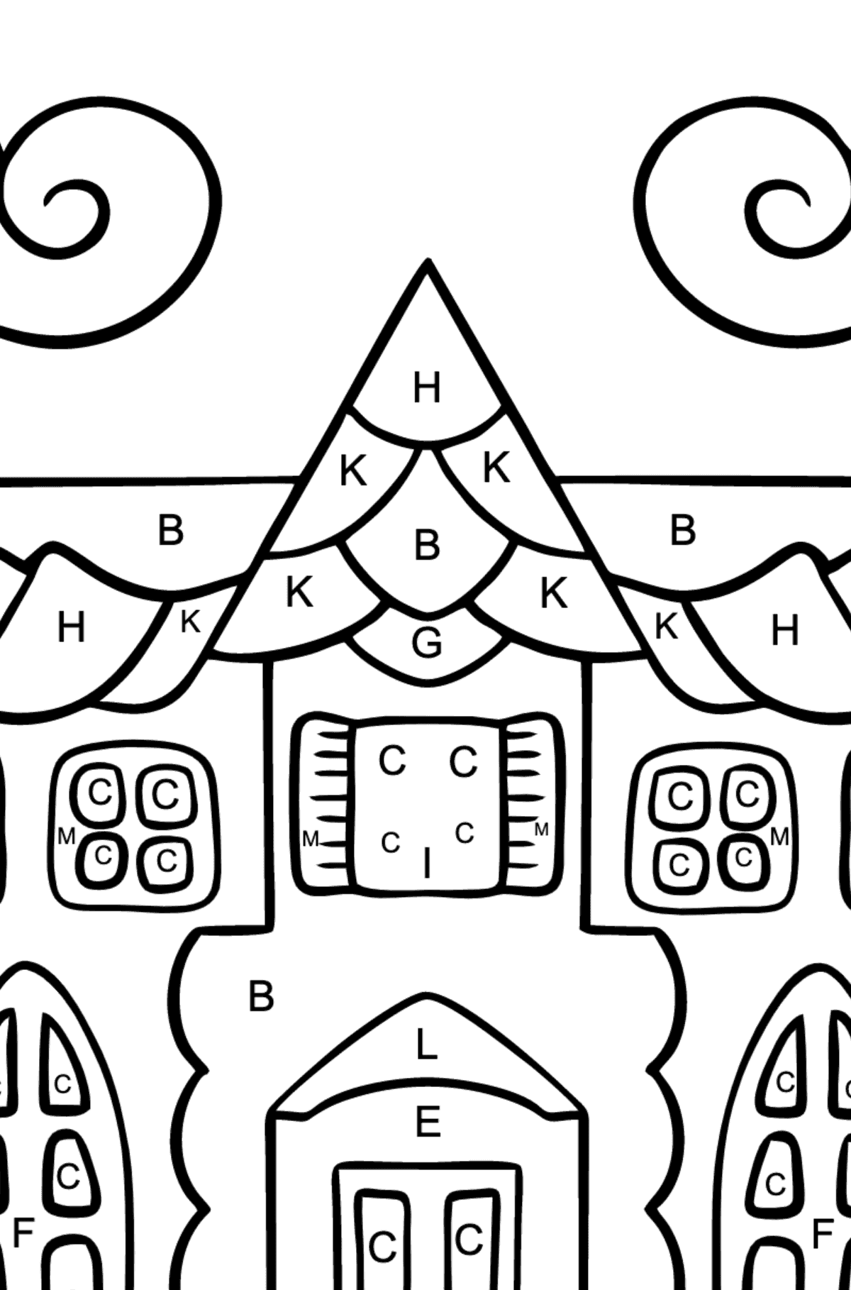 Complex Coloring Page - A House in an Enchanted Kingdom - Coloring by Letters for Kids