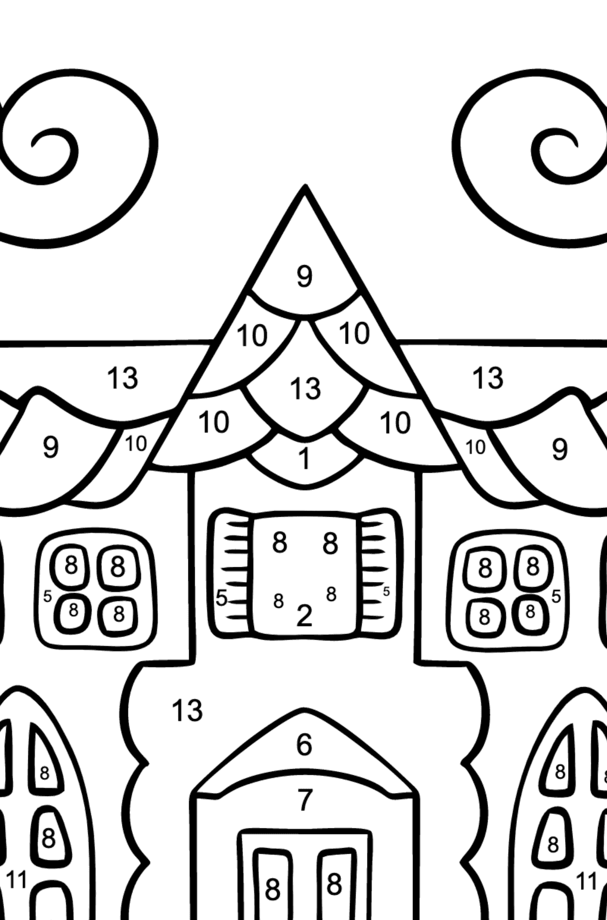Complex Coloring Page - A House in an Enchanted Kingdom - Coloring by Numbers for Kids