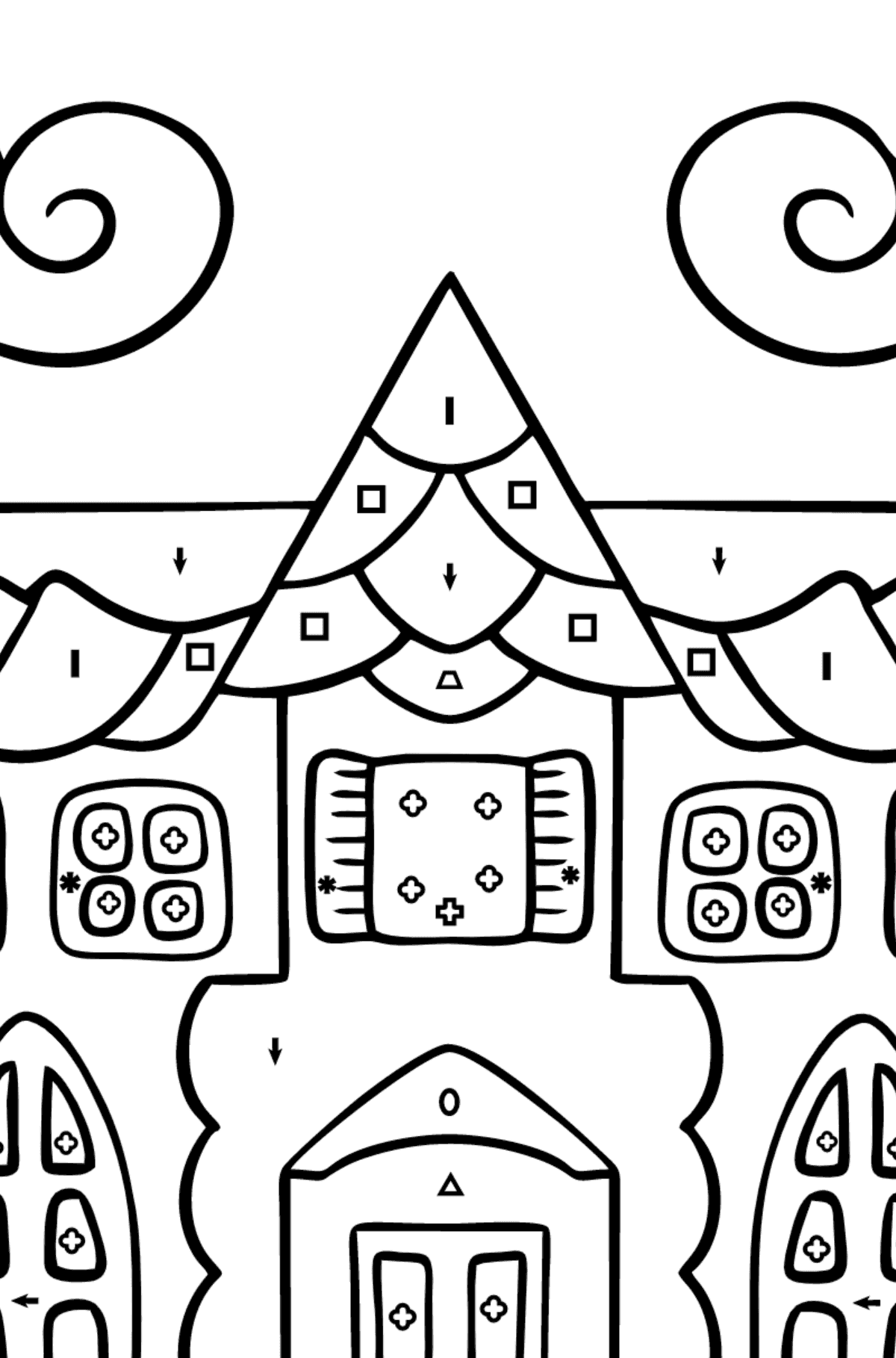 Complex Coloring Page - A House in an Enchanted Kingdom - Coloring by Symbols and Geometric Shapes for Children