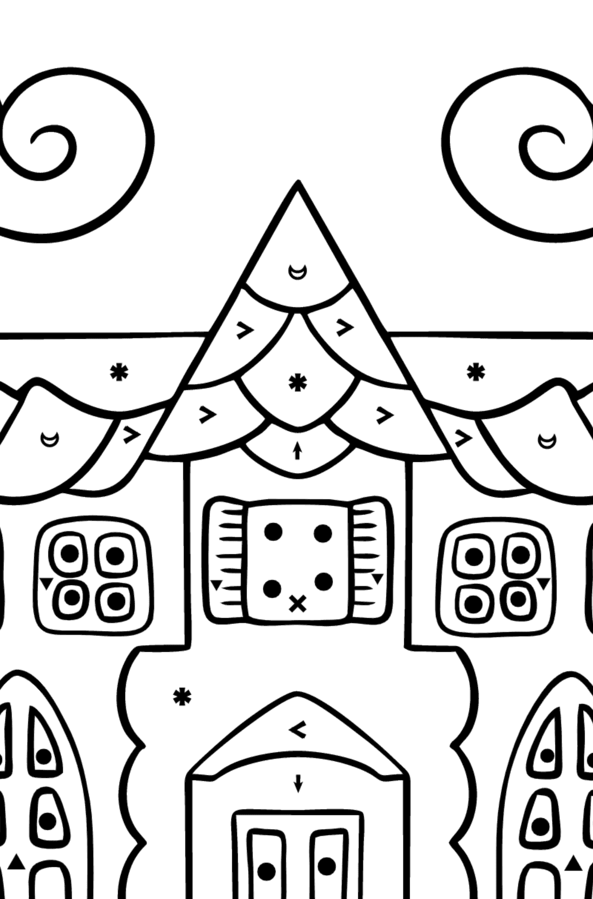 Complex Coloring Page - A House in an Enchanted Kingdom - Coloring by Symbols for Kids