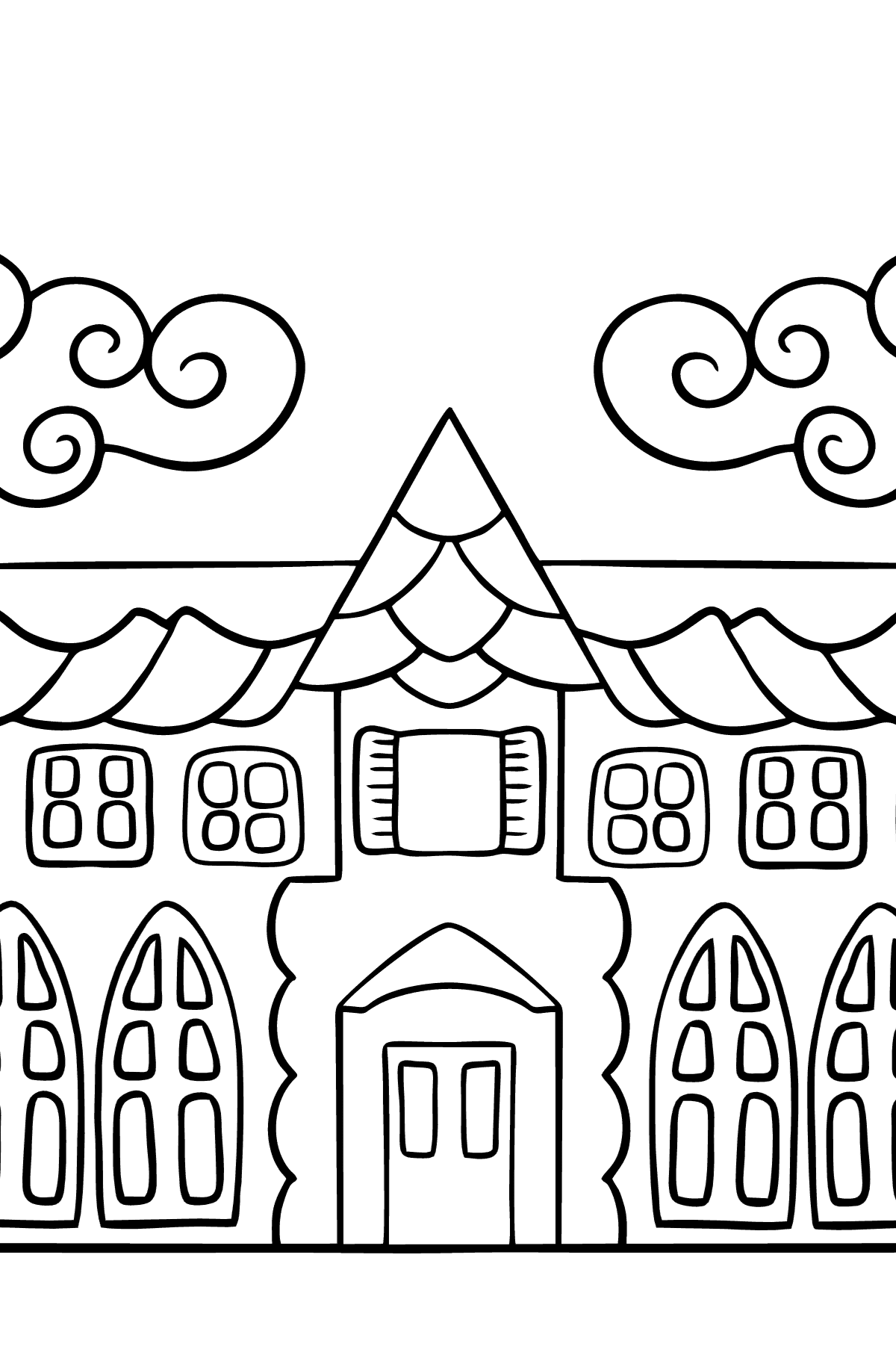 Complex Coloring Page - A House in an Enchanted Kingdom - Coloring Pages for Children