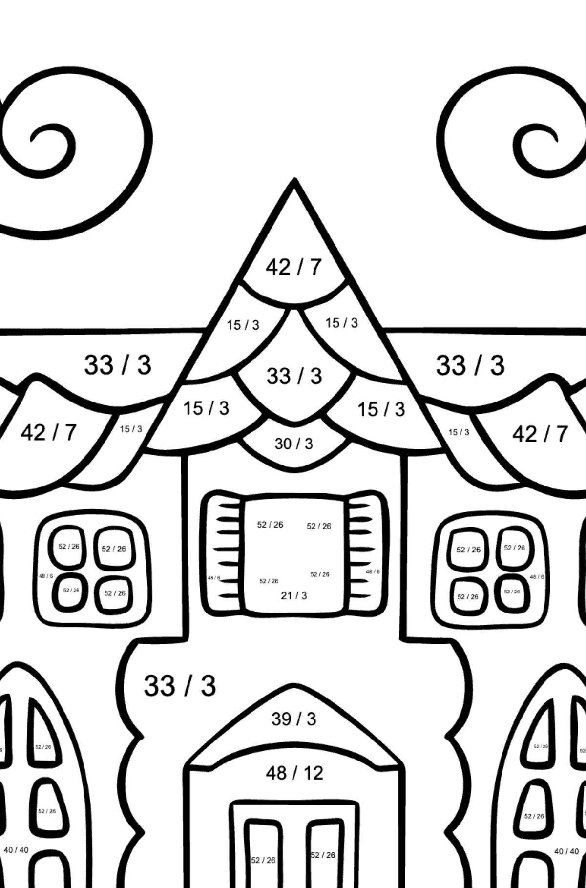 Complex Coloring Page - A House in an Enchanted Kingdom - Math Coloring - Division for Kids