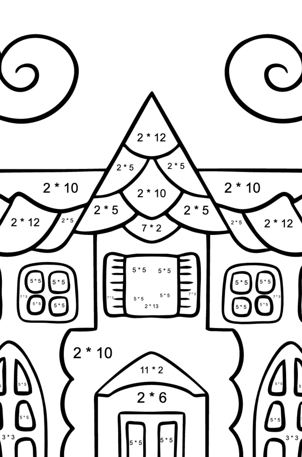 Complex Coloring Page - A House in an Enchanted Kingdom - Math Coloring - Multiplication for Kids