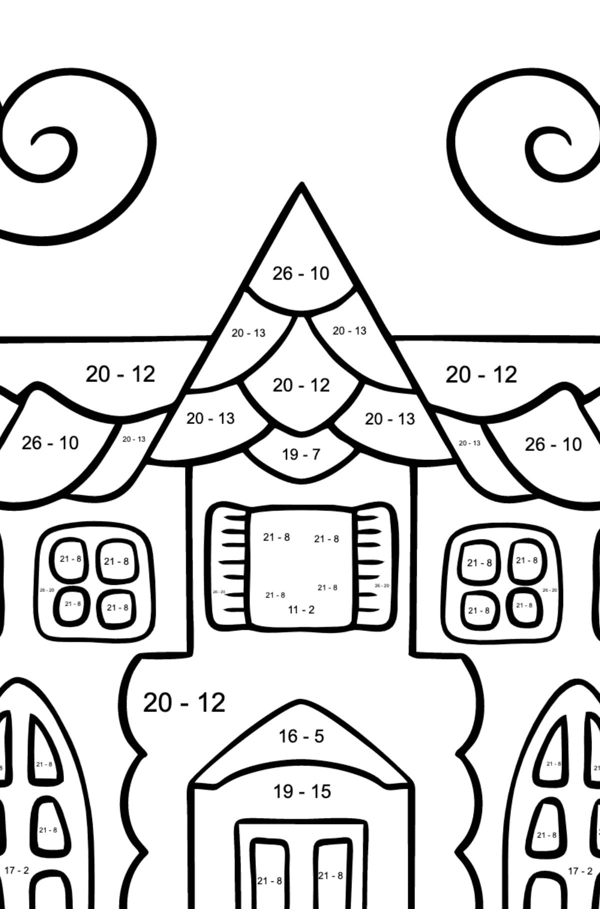 Complex Coloring Page - A House in an Enchanted Kingdom - Math Coloring - Subtraction for Kids