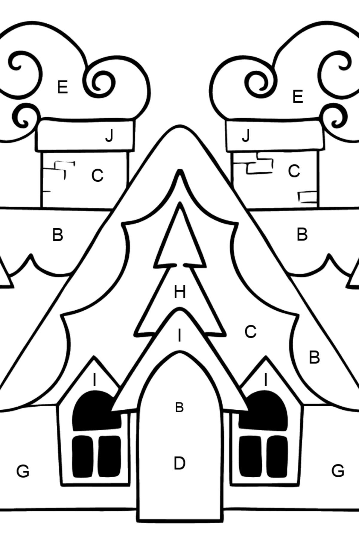 Complex Coloring Page - A Magic House - Coloring by Letters for Kids