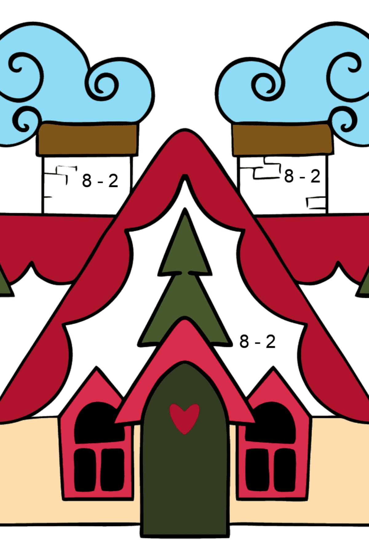Сложная раскраска волшебный домик - Математическая Раскраска - Вычитание для Детей