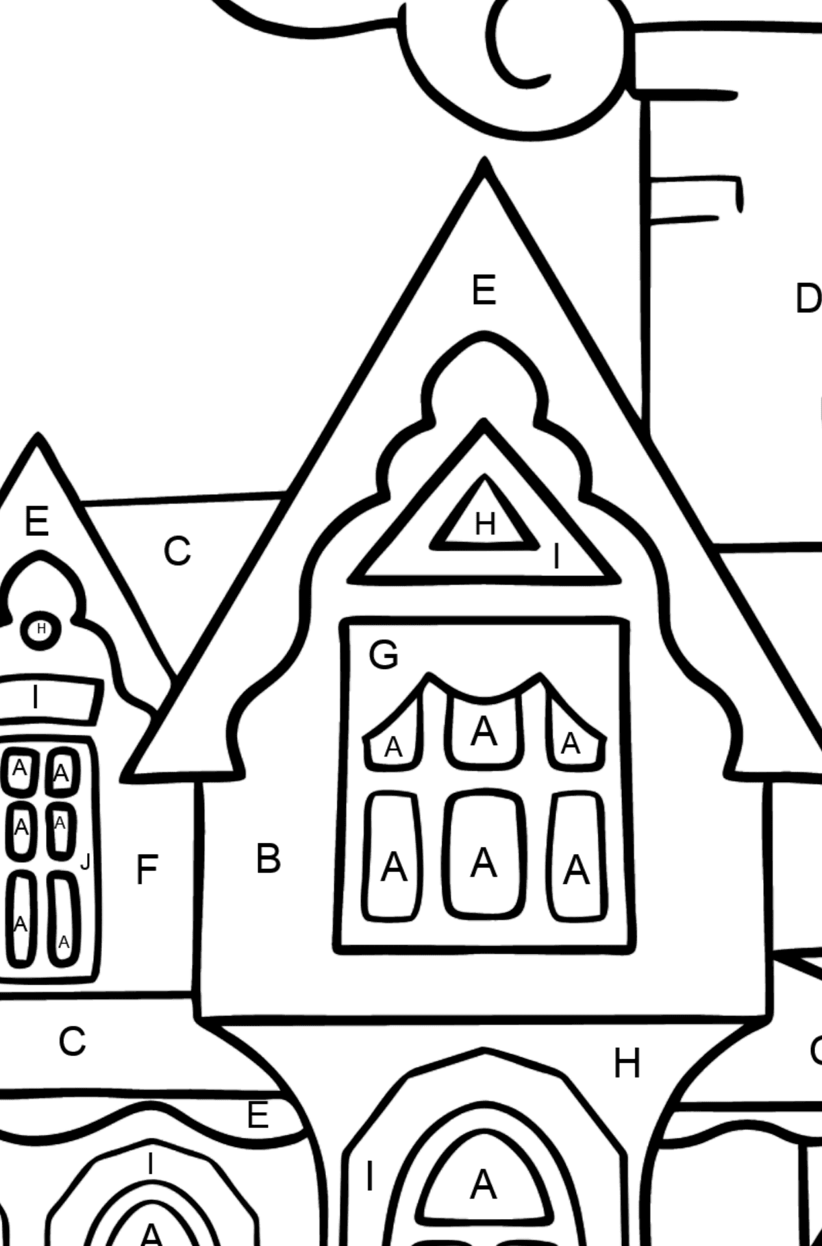 Complex Coloring Page - A Miraculous House - Coloring by Letters for Kids