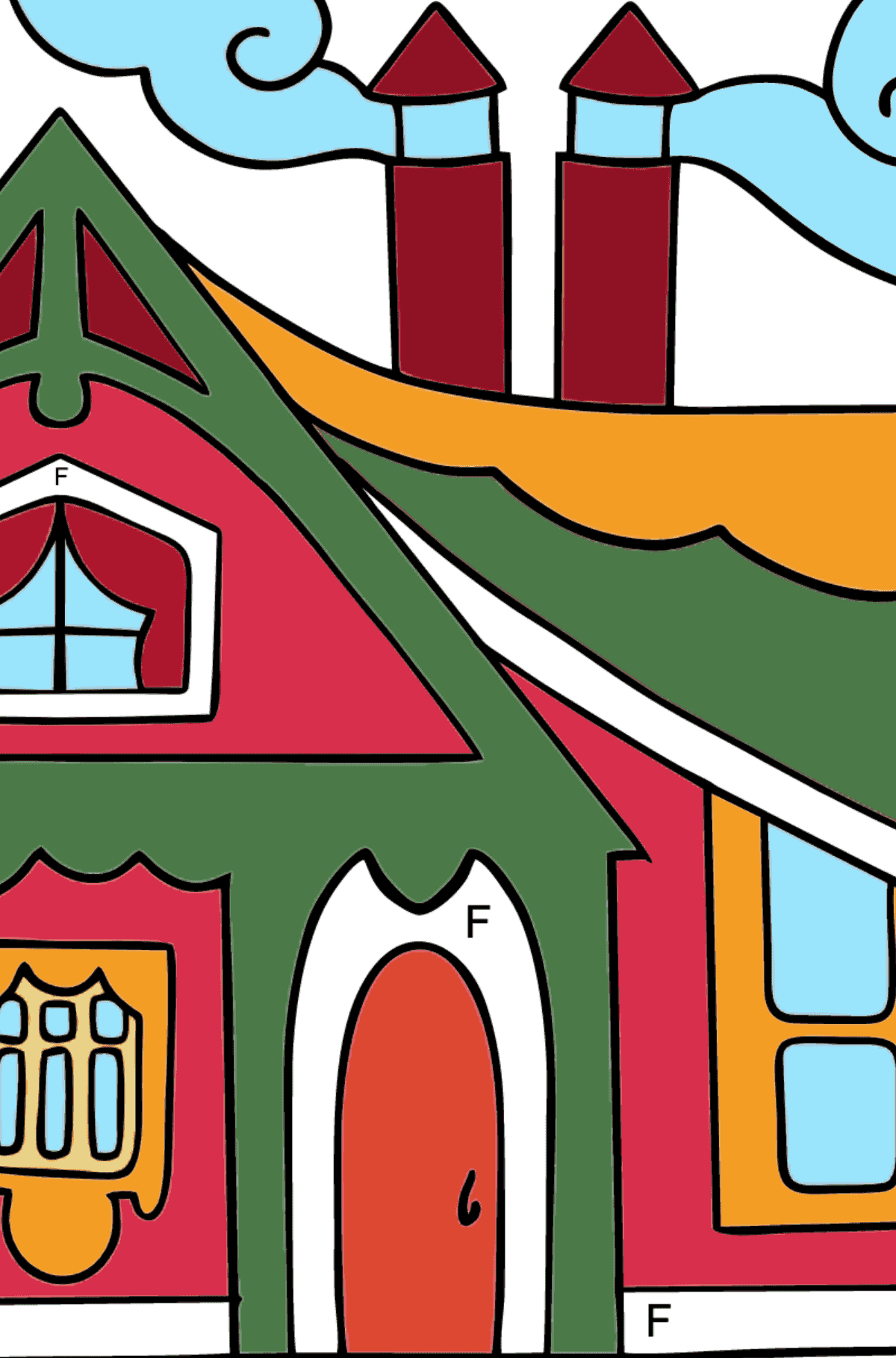 Complex Coloring Page - A Tiny House for Kids  - Color by Letters