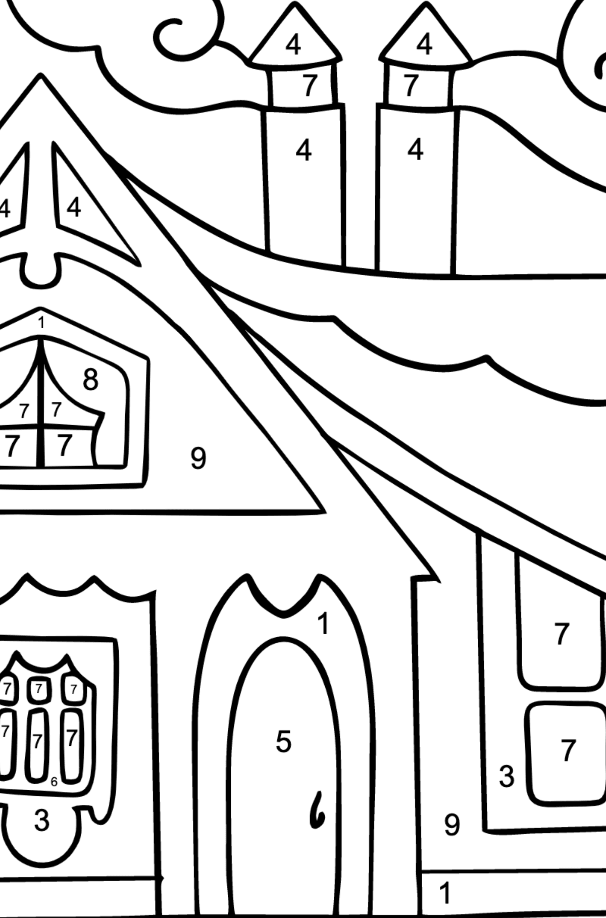 Complex Coloring Page - A Tiny House for Children  - Color by Number