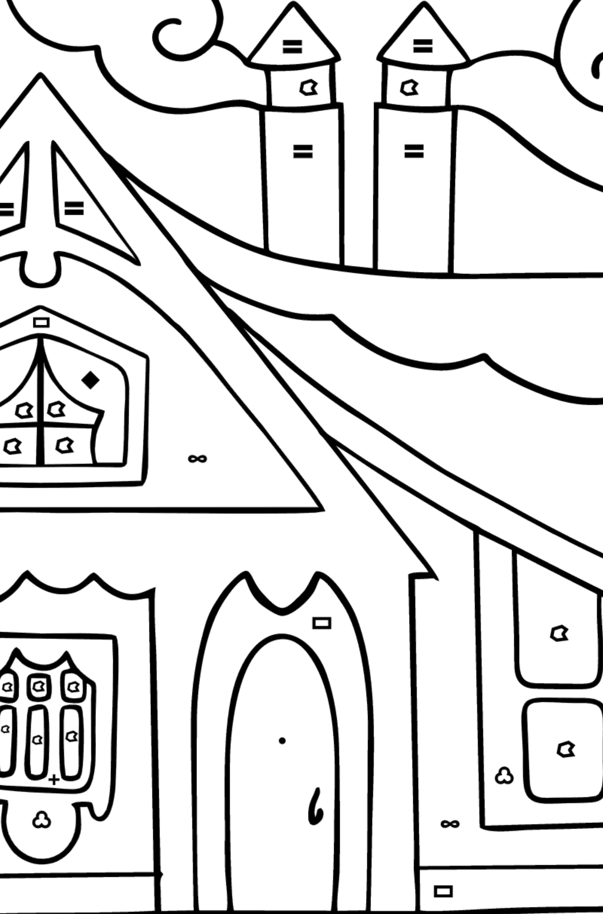 Complex Coloring Page - A Tiny House for Children  - Color by Symbols and Geometric Shapes