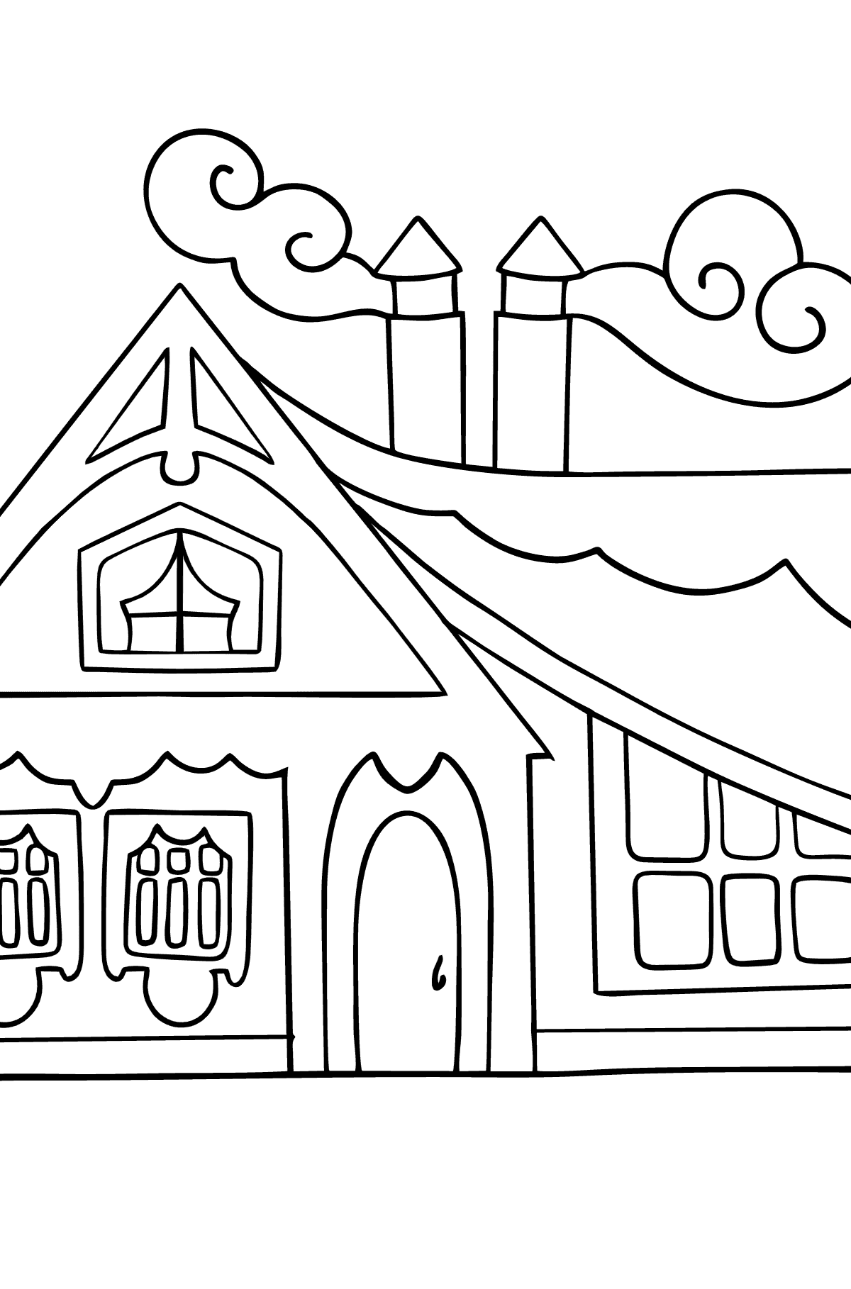 Complex Coloring Page - A Tiny House for Kids