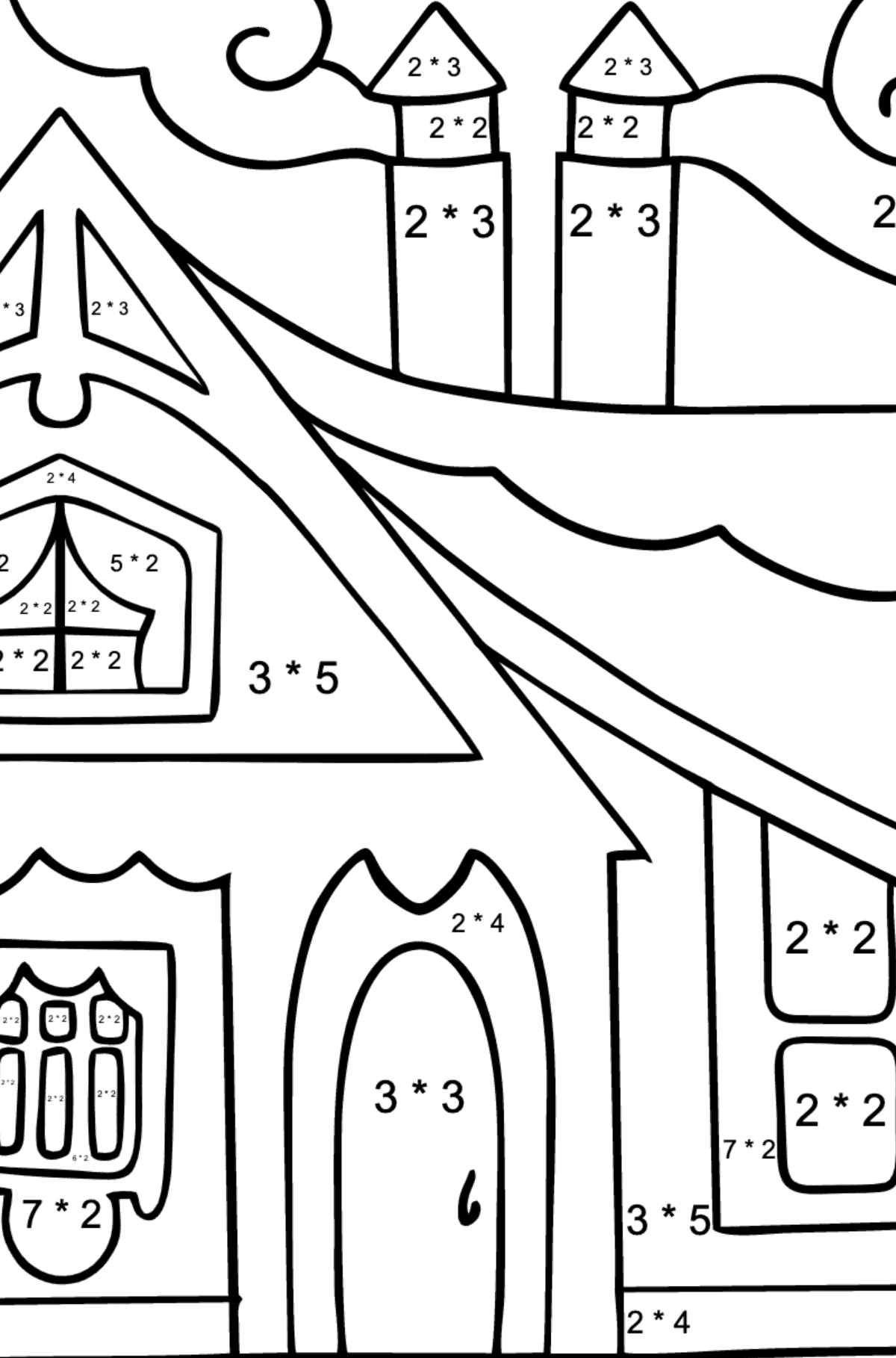 Complex Coloring Page - A Tiny House for Children  - Color by Number Multiplication