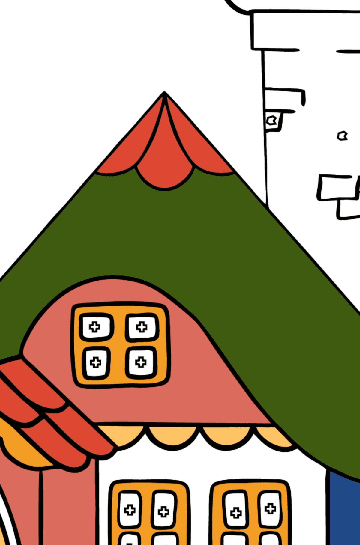 Сложная раскраска домик дивный - Раскраска по Геометрическим Фигурам для Детей