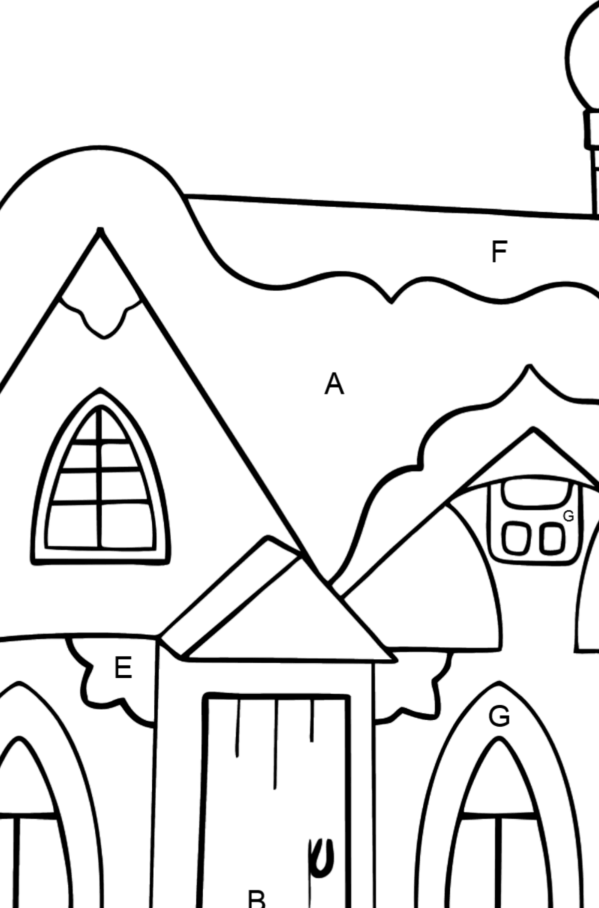 Simple Coloring Page - A Fairytale House - Coloring by Letters for Kids
