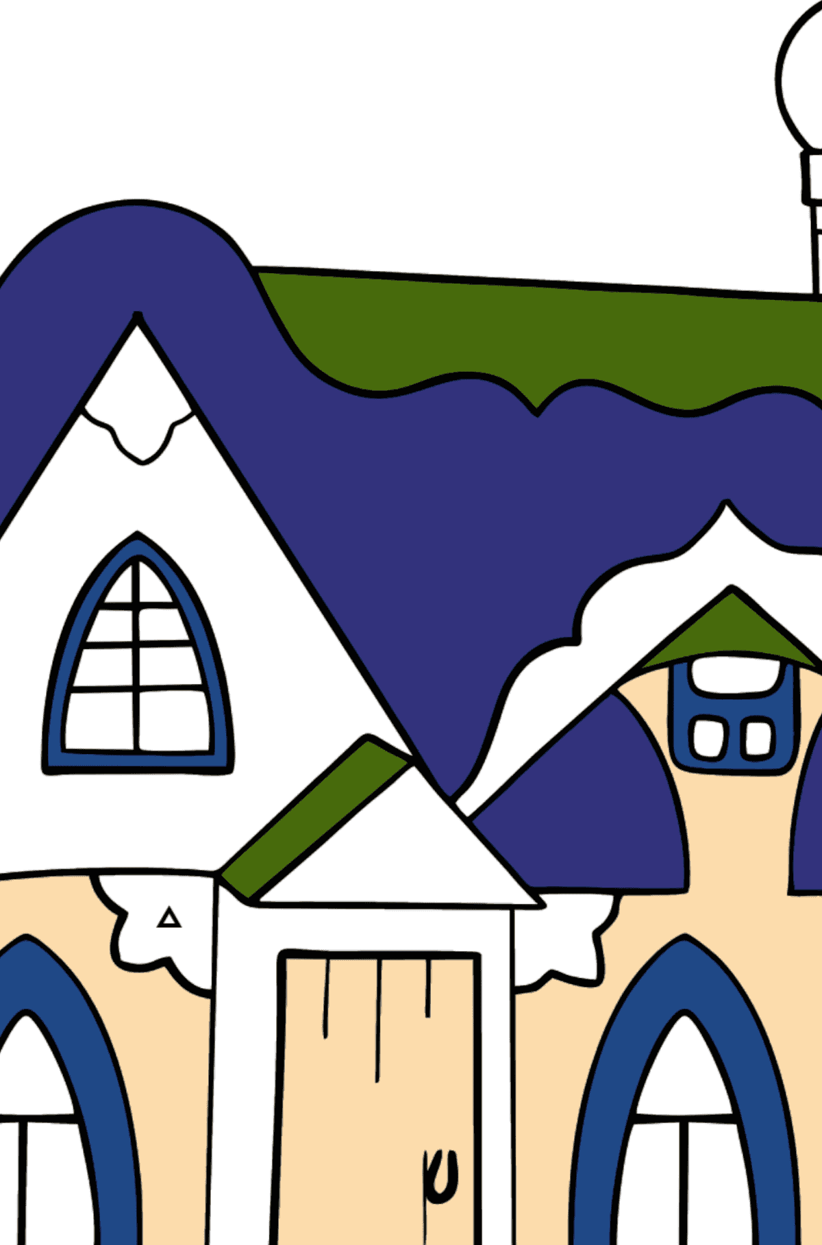 Simple Coloring Page - A Fairytale House - Coloring by Geometric Shapes for Kids