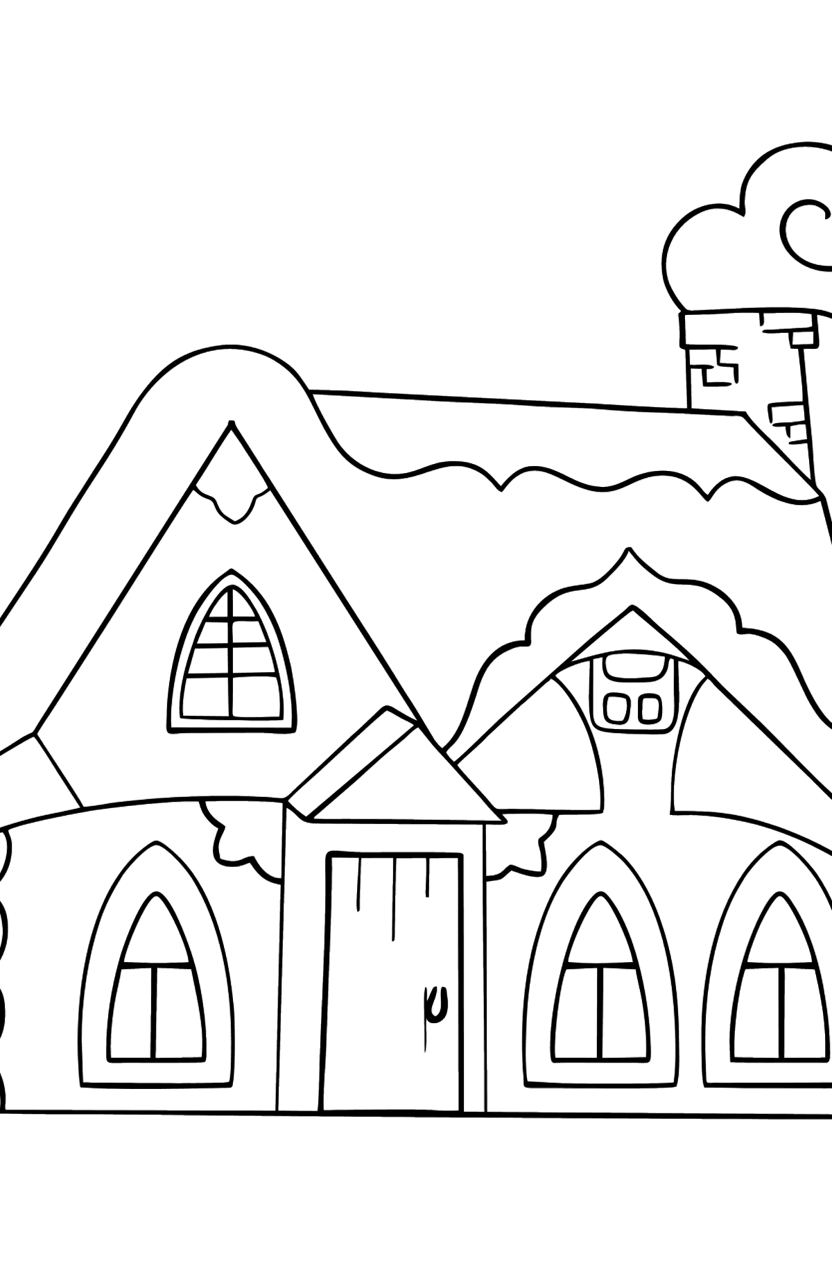 Simple Coloring Page - A Fairytale House - Coloring Pages for Kids