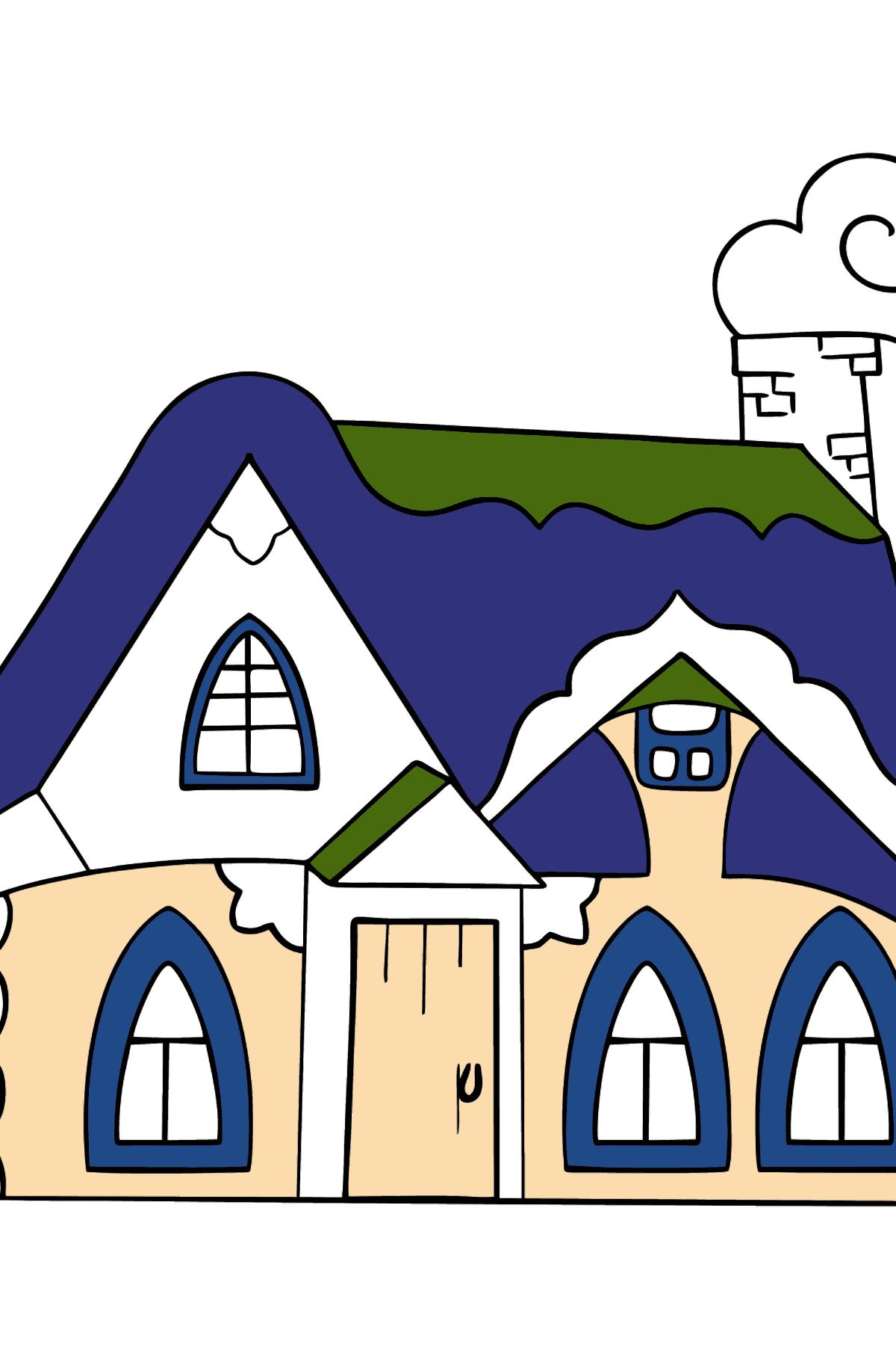Простая раскраска сказочный домик - Раскраски для Детей