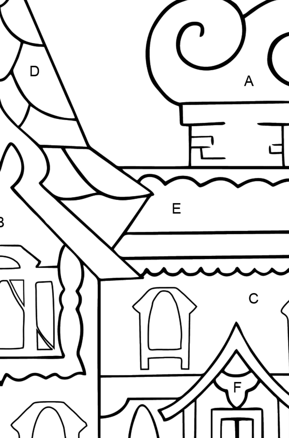 Simple Coloring Page - A House - A Kingdom of Storytellers - Coloring by Letters for Kids