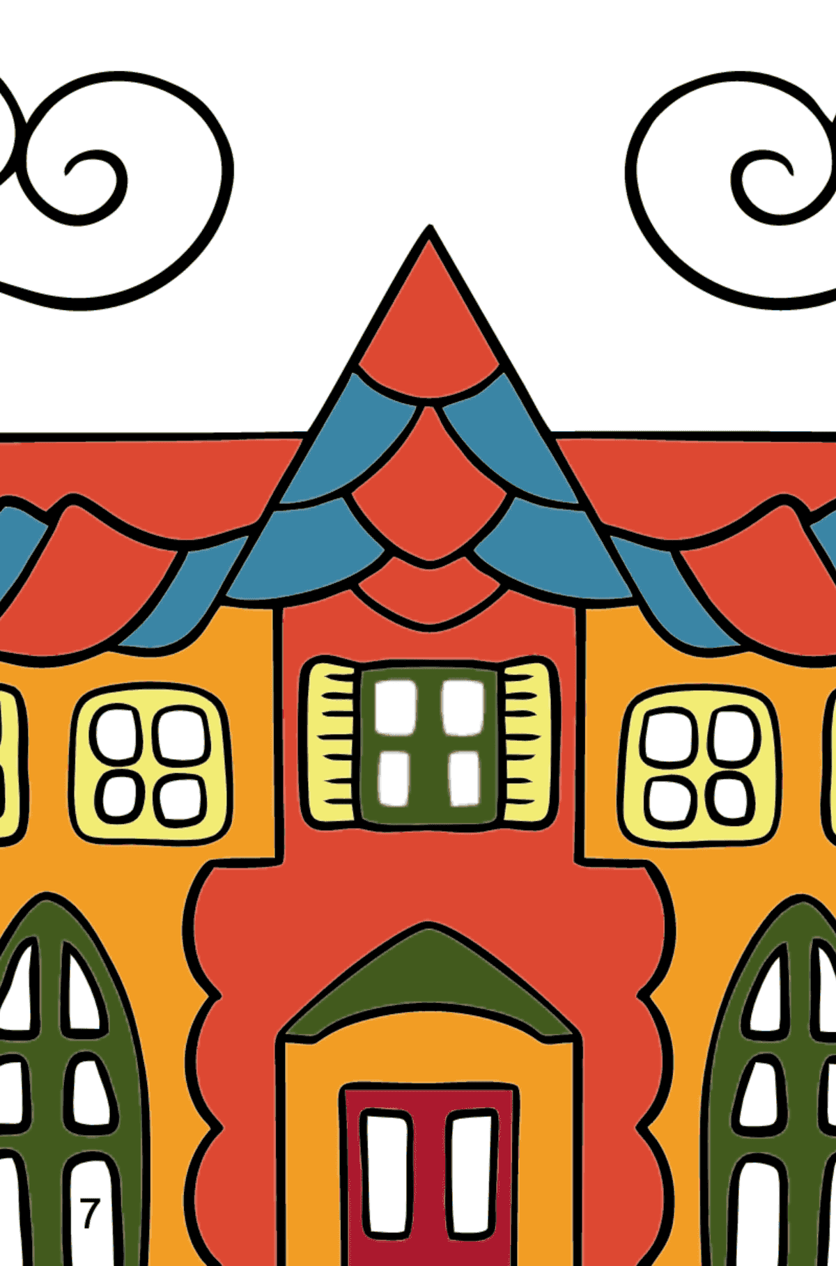 Simple Coloring Page - A House in an Enchanted Kingdom for Children  - Color by Number