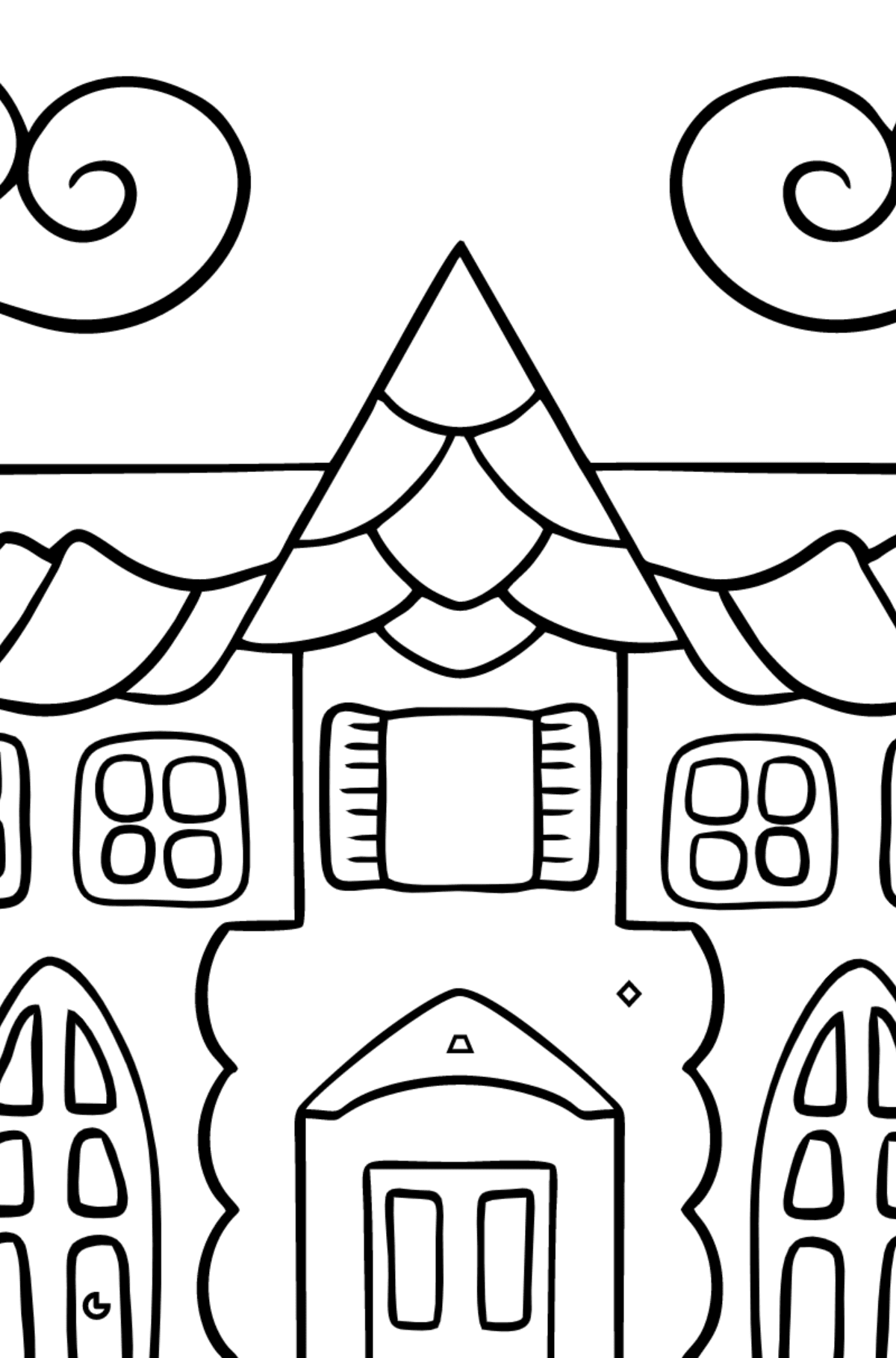 Simple Coloring Page - A House in an Enchanted Kingdom for Children  - Color by Geometric Shapes