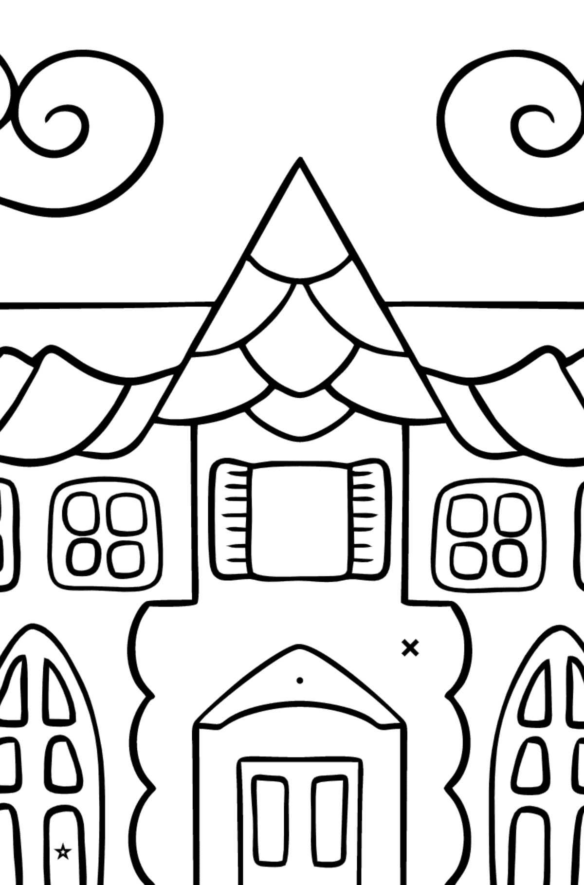Simple Coloring Page - A House in an Enchanted Kingdom for Kids  - Color by Symbols and Geometric Shapes