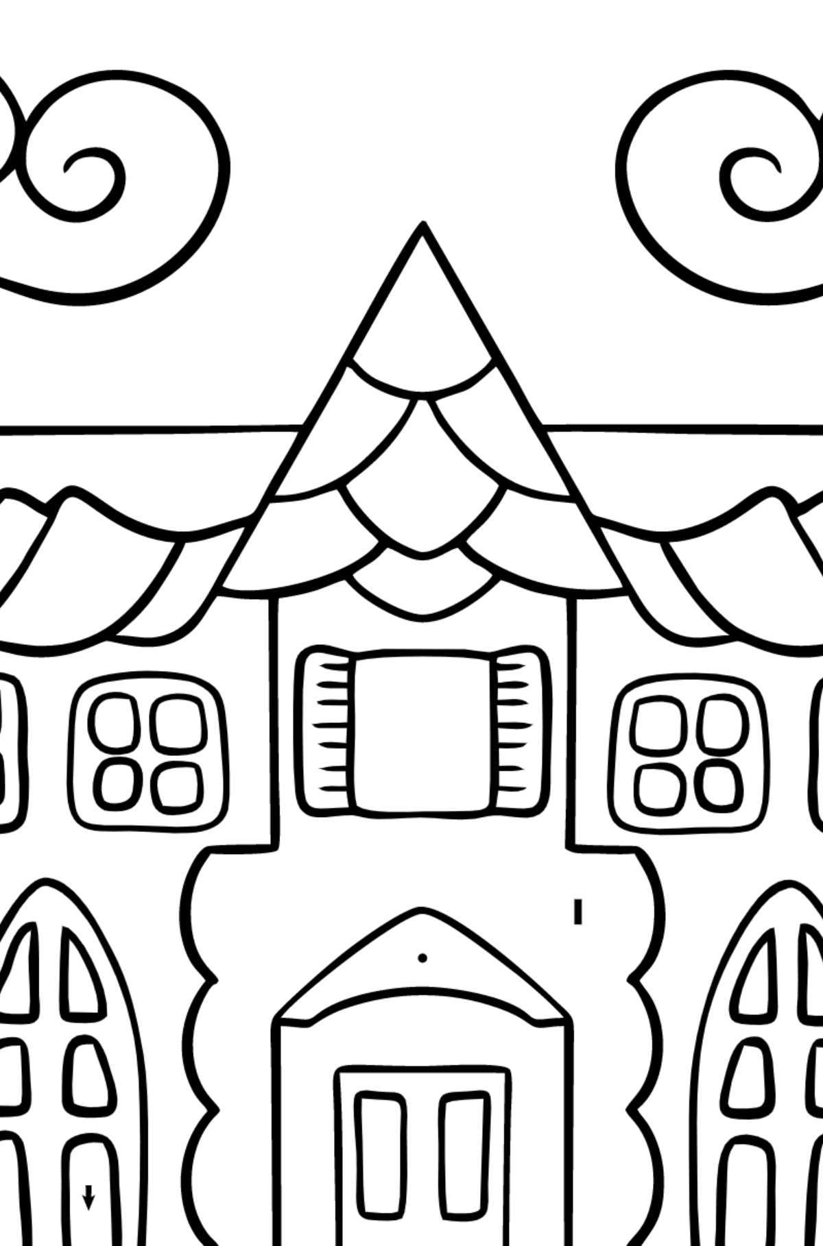 Simple Coloring Page - A House in an Enchanted Kingdom for Kids  - Color by Special Symbols