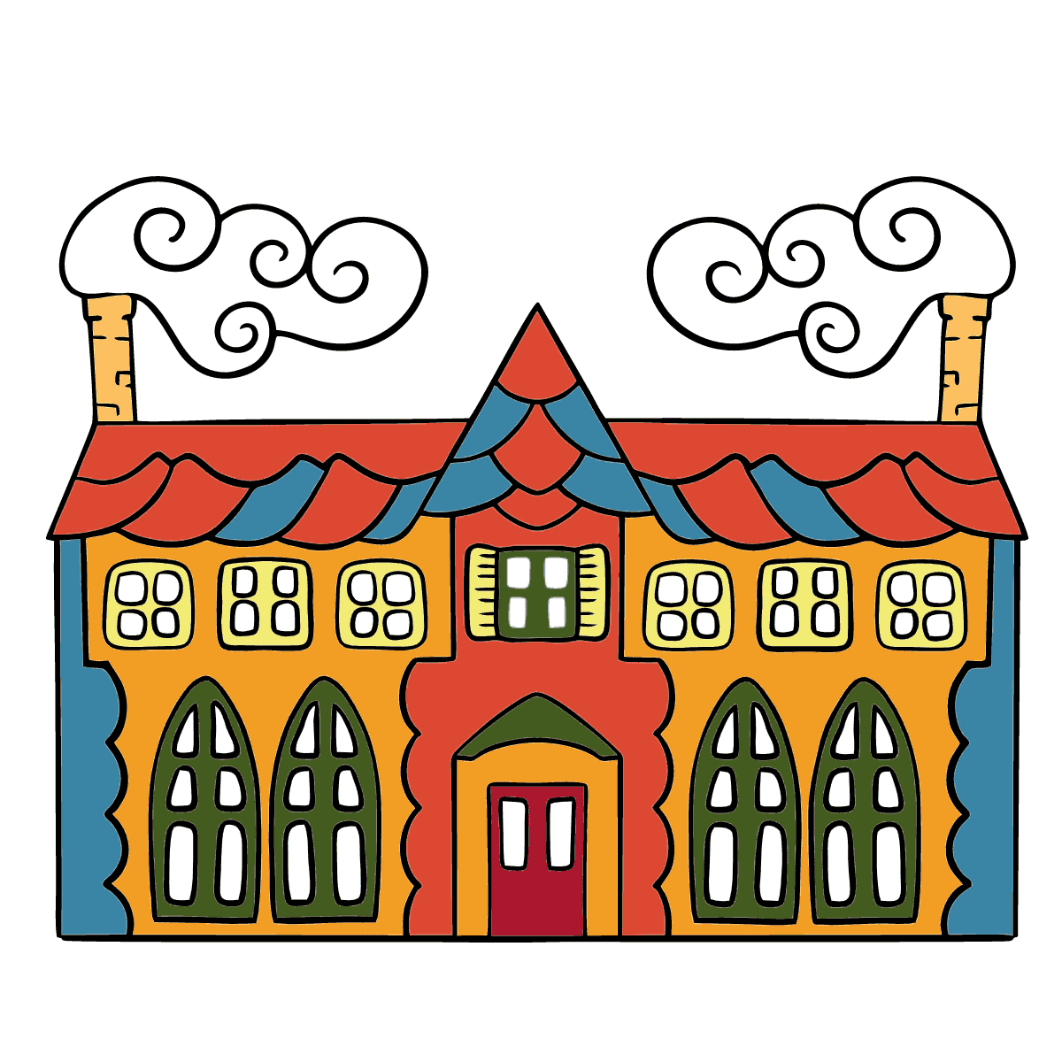 Simple Coloring Page - A House in an Enchanted Kingdom