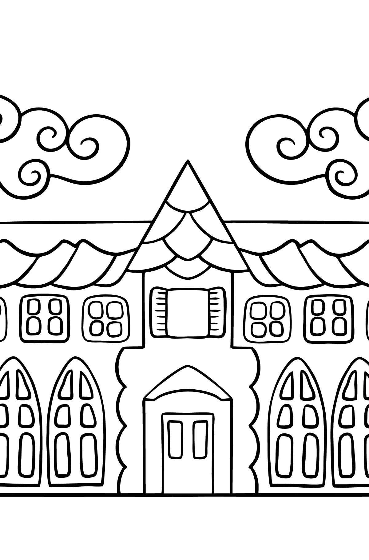 Simple Coloring Page - A House in an Enchanted Kingdom for Children