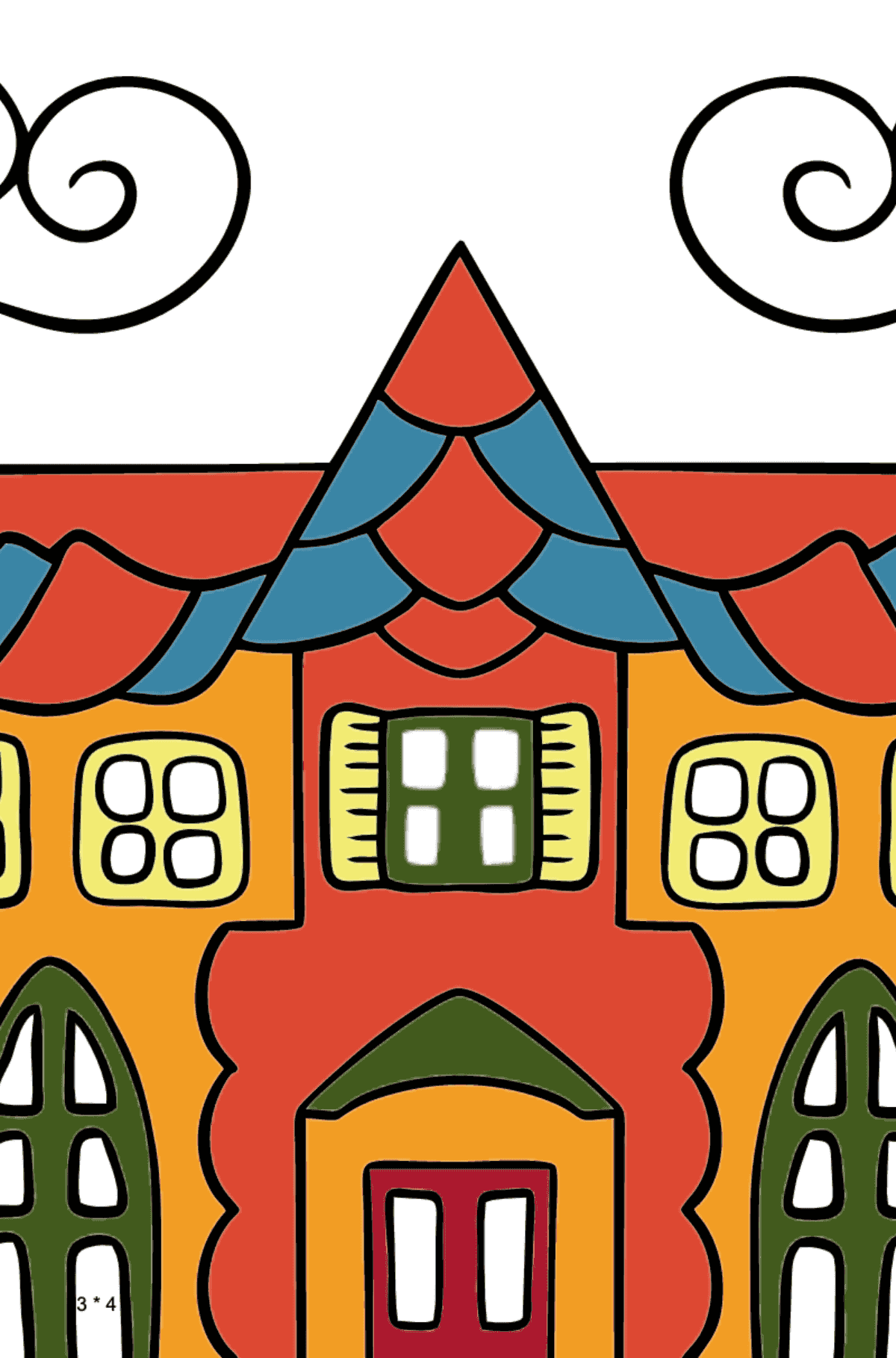 Simple Coloring Page - A House in an Enchanted Kingdom for Kids  - Color by Number Multiplication