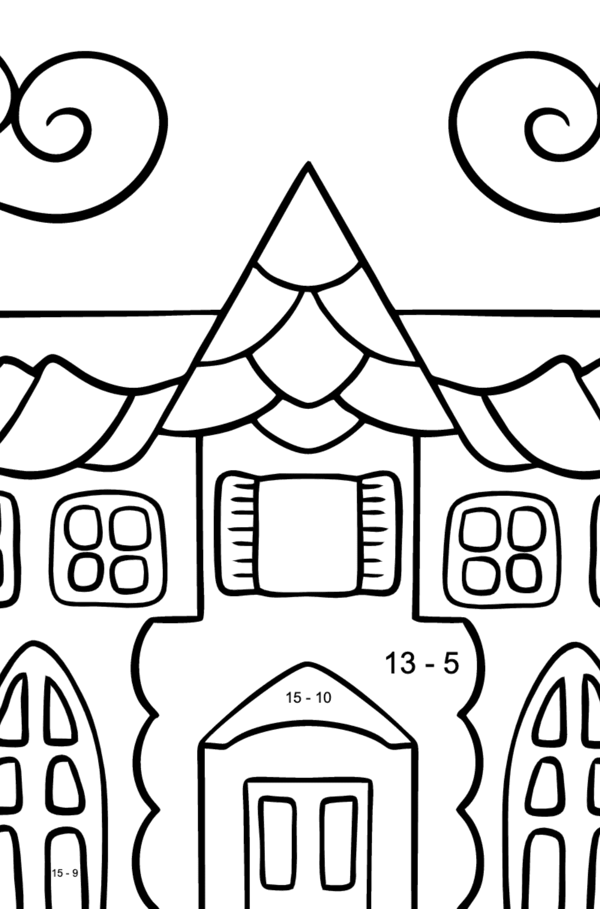 Simple Coloring Page - A House in an Enchanted Kingdom for Children  - Color by Number Substraction