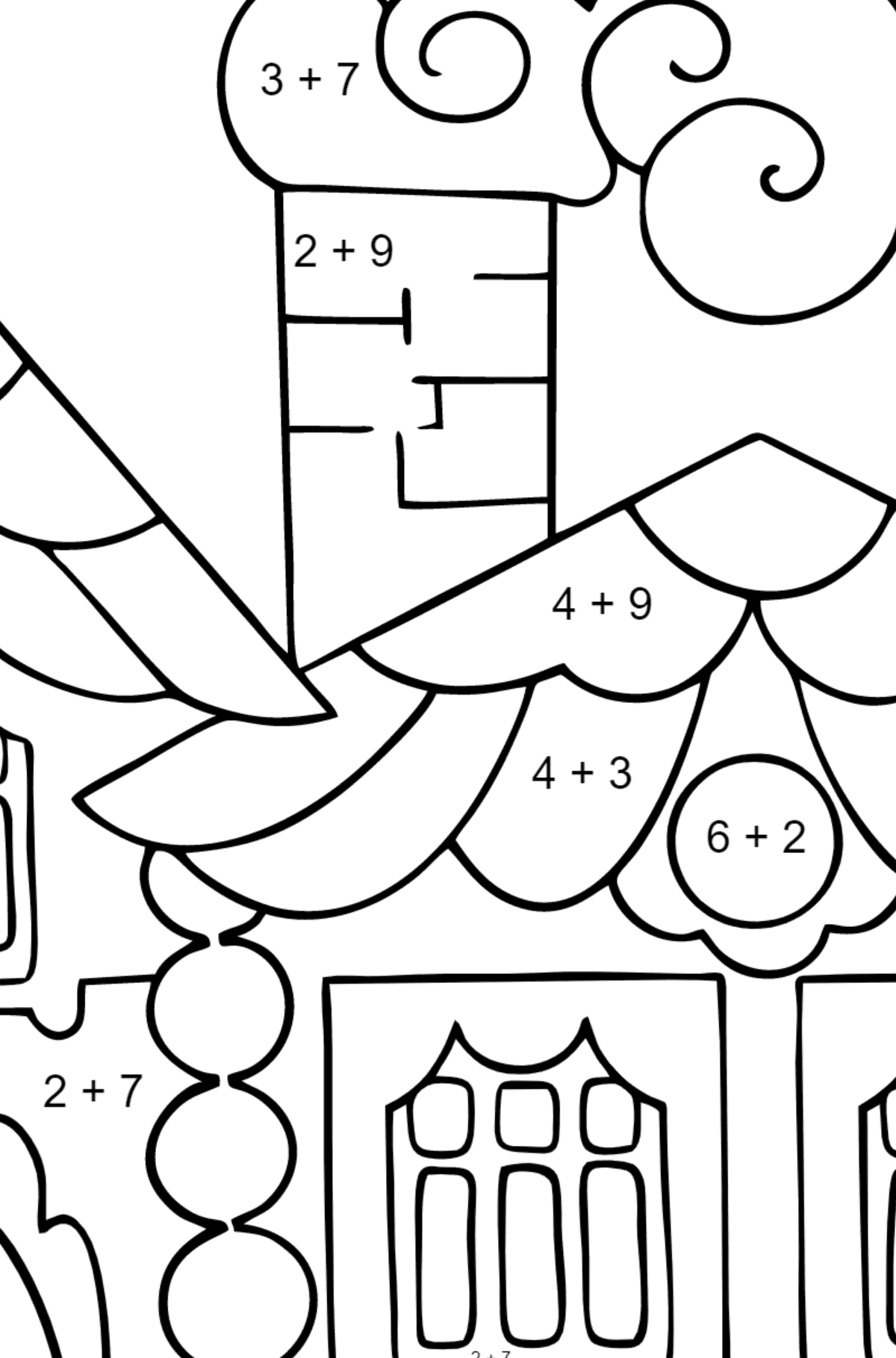 Simple Coloring Page - A House in the Forest - Math Coloring - Addition for Kids
