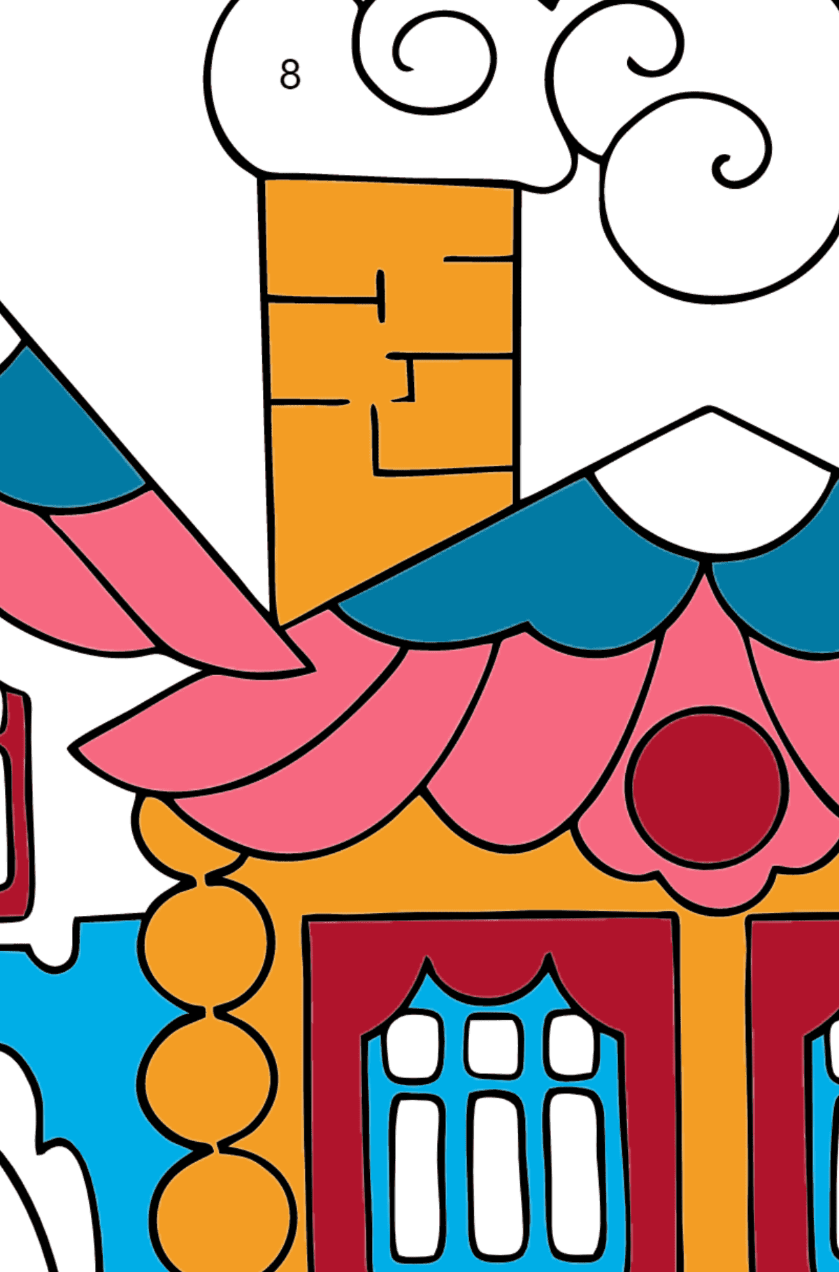 Simple Coloring Page - A House in the Forest - Coloring by Numbers for Children