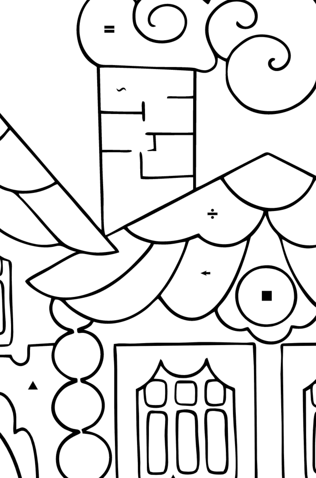 Simple Coloring Page - A House in the Forest - Coloring by Symbols for Children