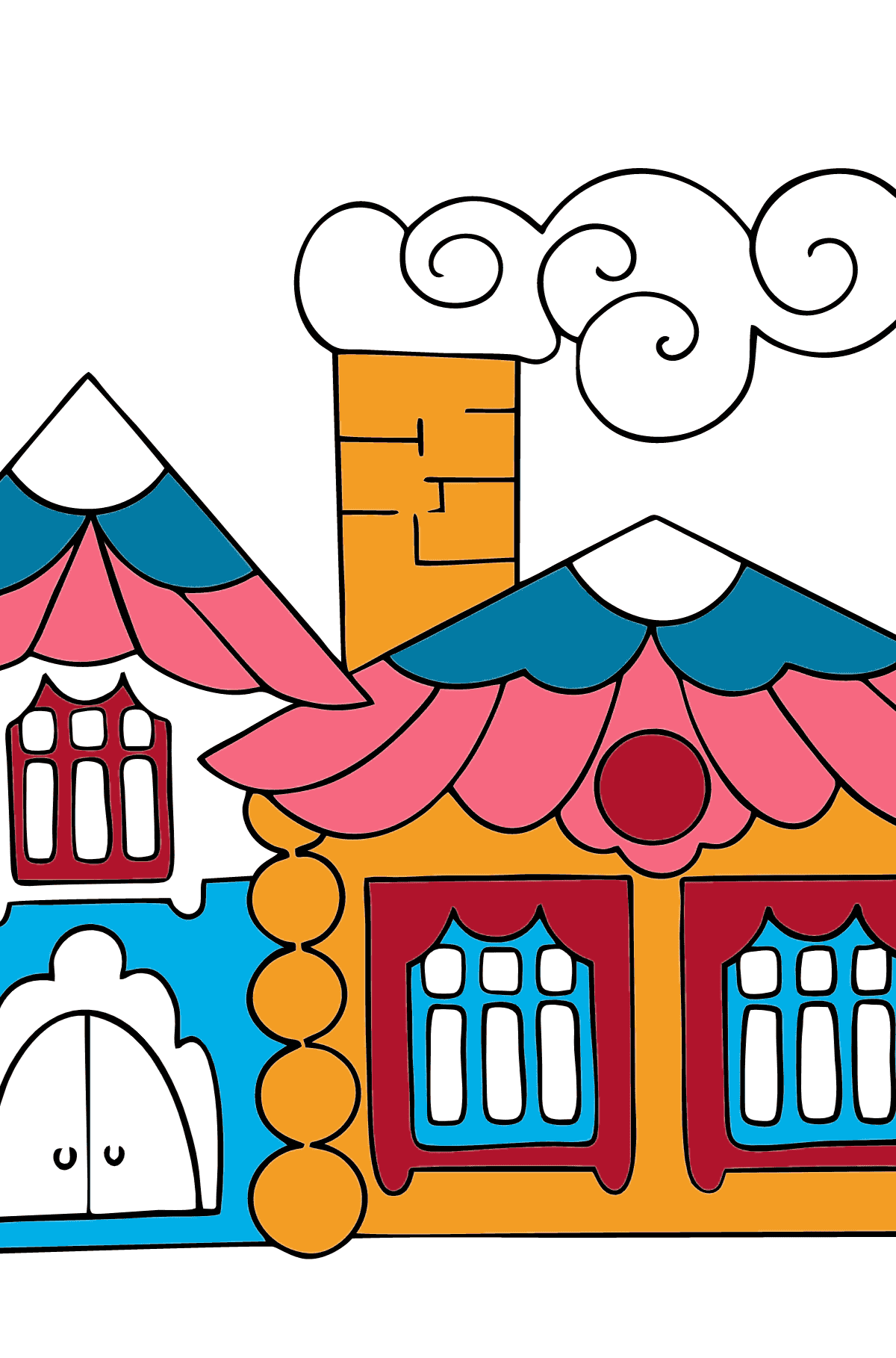 Simple Coloring Page - A House in the Forest - Coloring Pages for Children