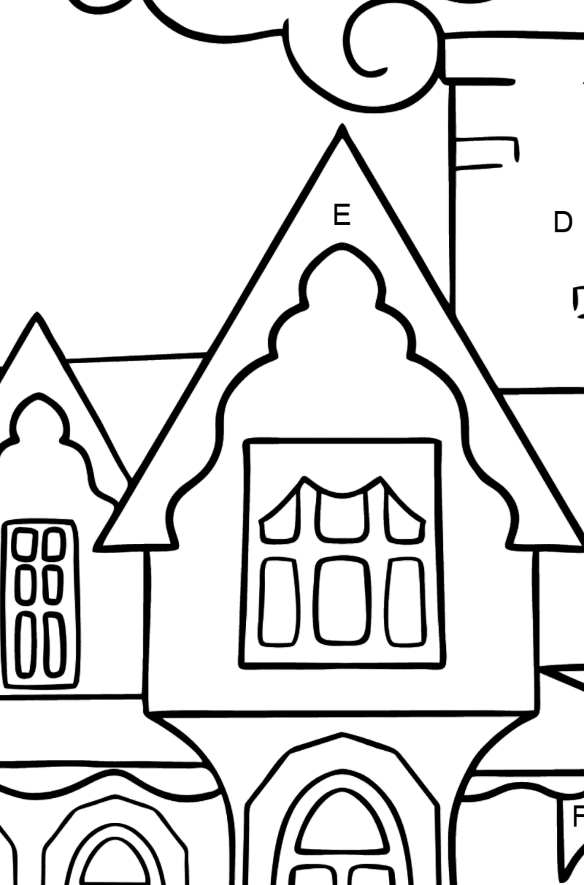 Simple Coloring Page - A Miraculous House - Coloring by Letters for Kids