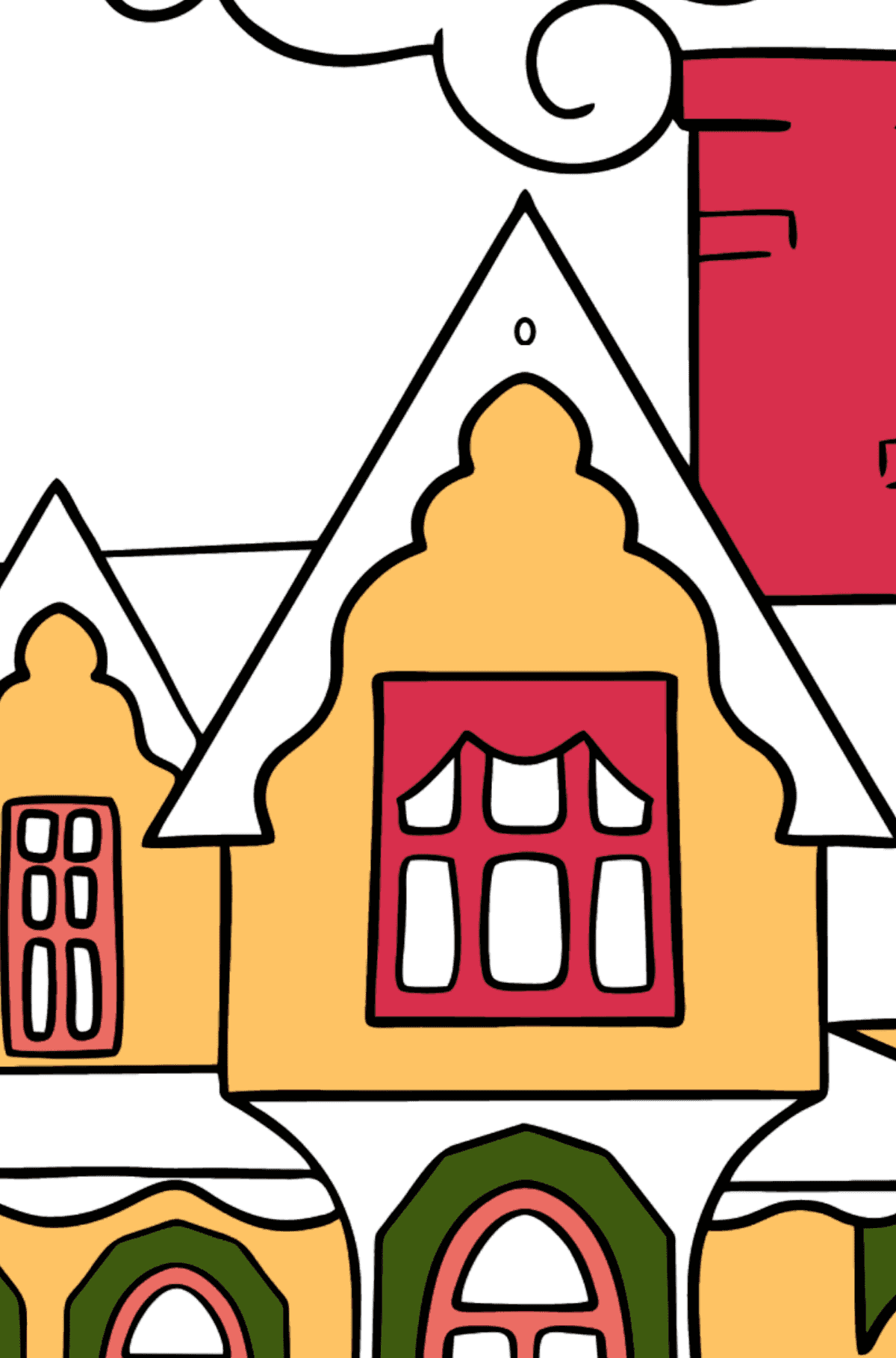 Simple Coloring Page - A Miraculous House - Coloring by Symbols and Geometric Shapes for Kids