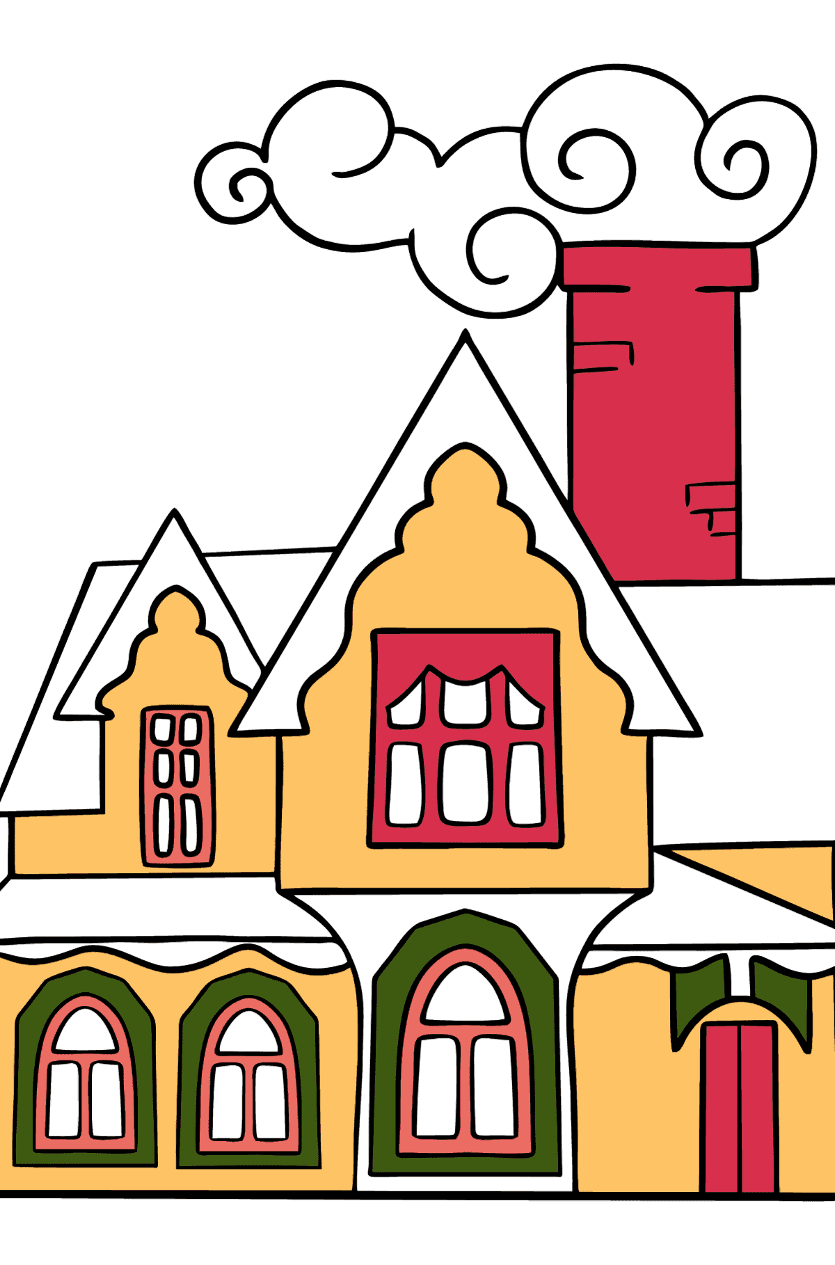 Simple Coloring Page - A Miraculous House - Coloring Pages for Kids
