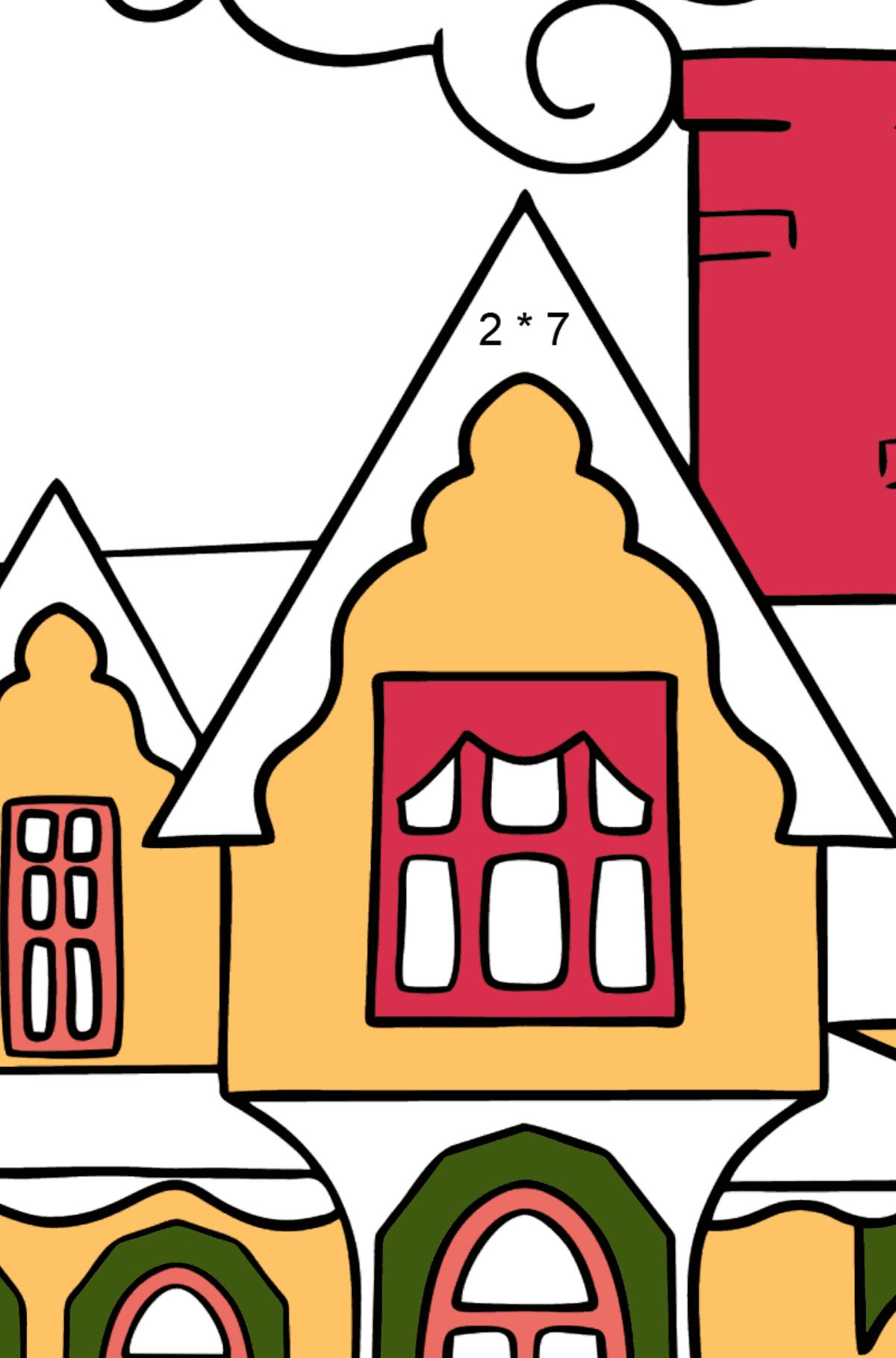 Простая раскраска домик чудесный - Математическая Раскраска - Умножение для Детей