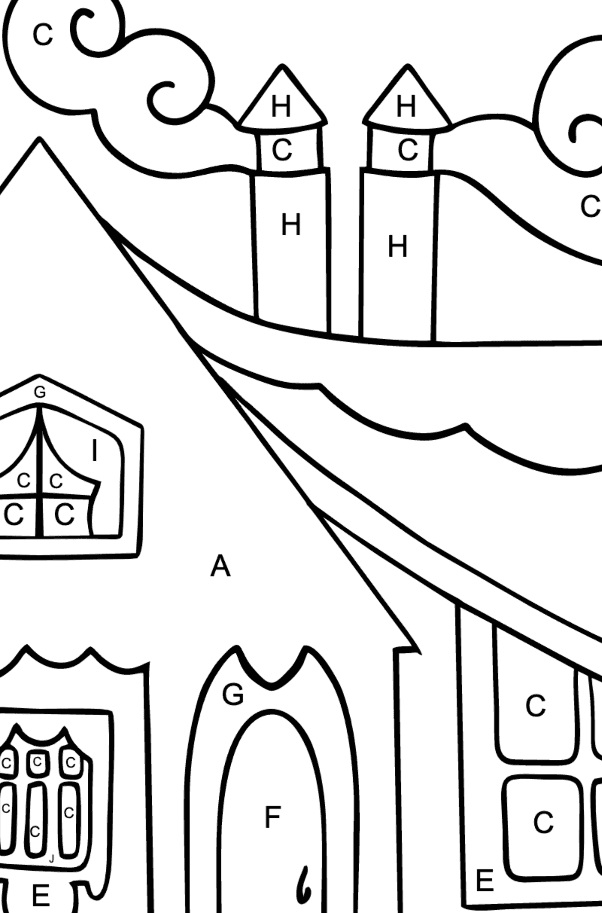 Simple Coloring Page - A Tiny House for Children  - Color by Letters