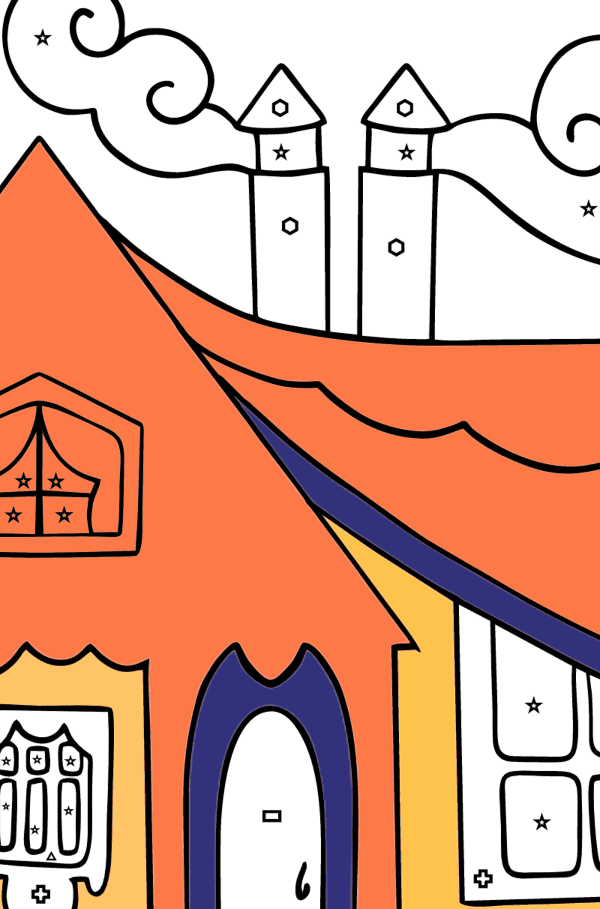 Simple Coloring Page - A Tiny House for Kids  - Color by Geometric Shapes